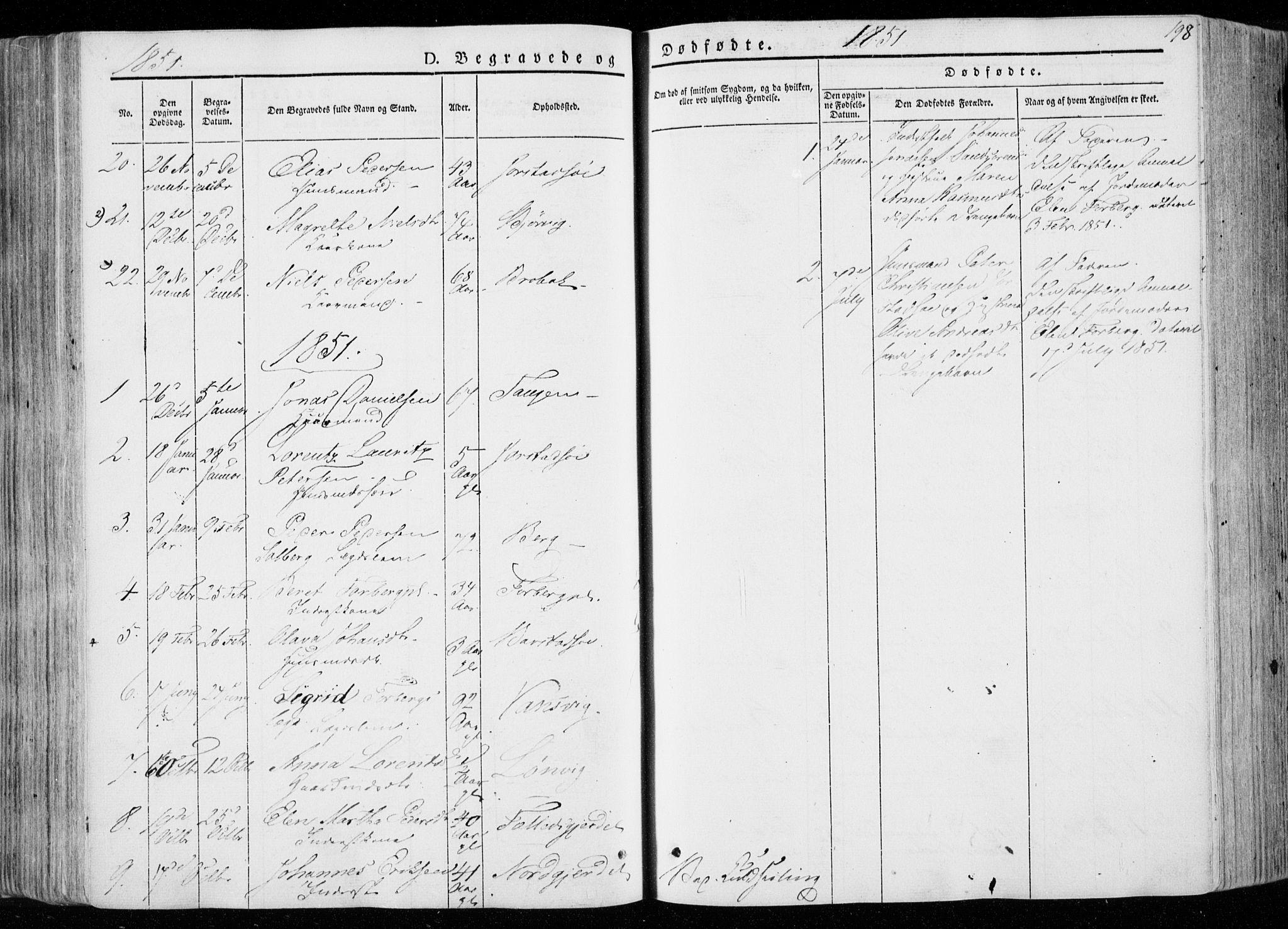 SAT, Ministerialprotokoller, klokkerbøker og fødselsregistre - Nord-Trøndelag, 722/L0218: Ministerialbok nr. 722A05, 1843-1868, s. 198