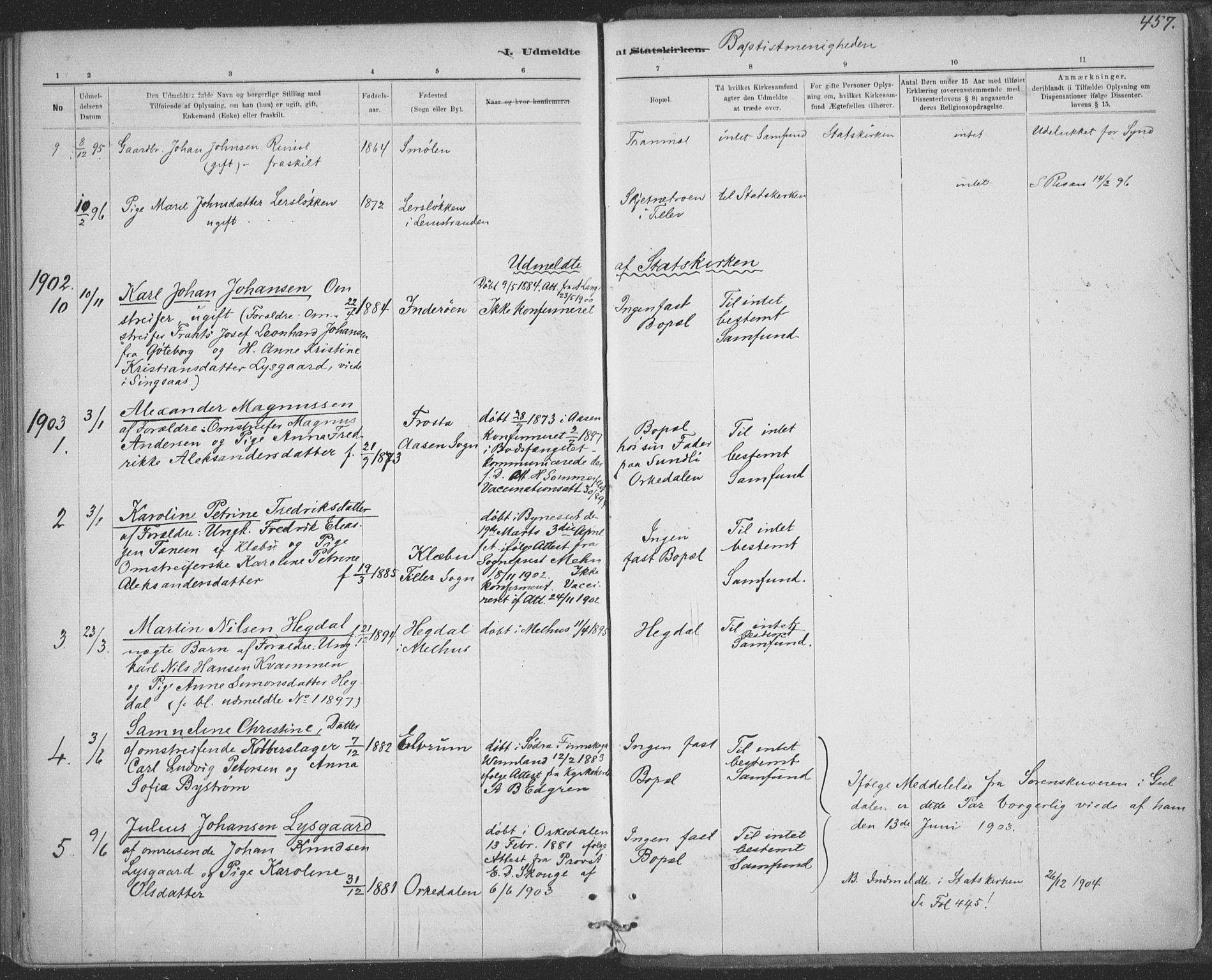 SAT, Ministerialprotokoller, klokkerbøker og fødselsregistre - Sør-Trøndelag, 691/L1085: Ministerialbok nr. 691A17, 1887-1908, s. 457