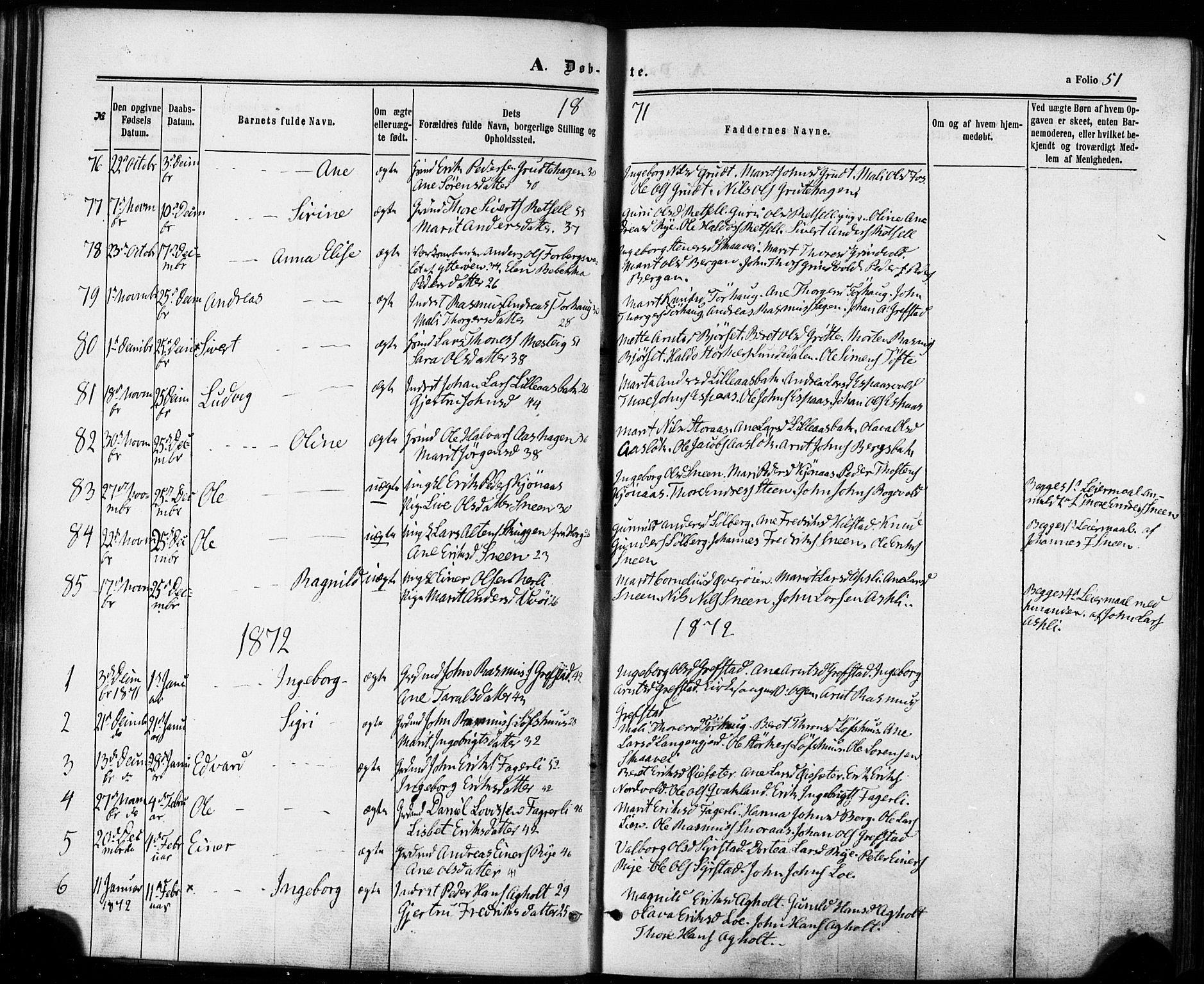 SAT, Ministerialprotokoller, klokkerbøker og fødselsregistre - Sør-Trøndelag, 672/L0856: Ministerialbok nr. 672A08, 1861-1881, s. 51