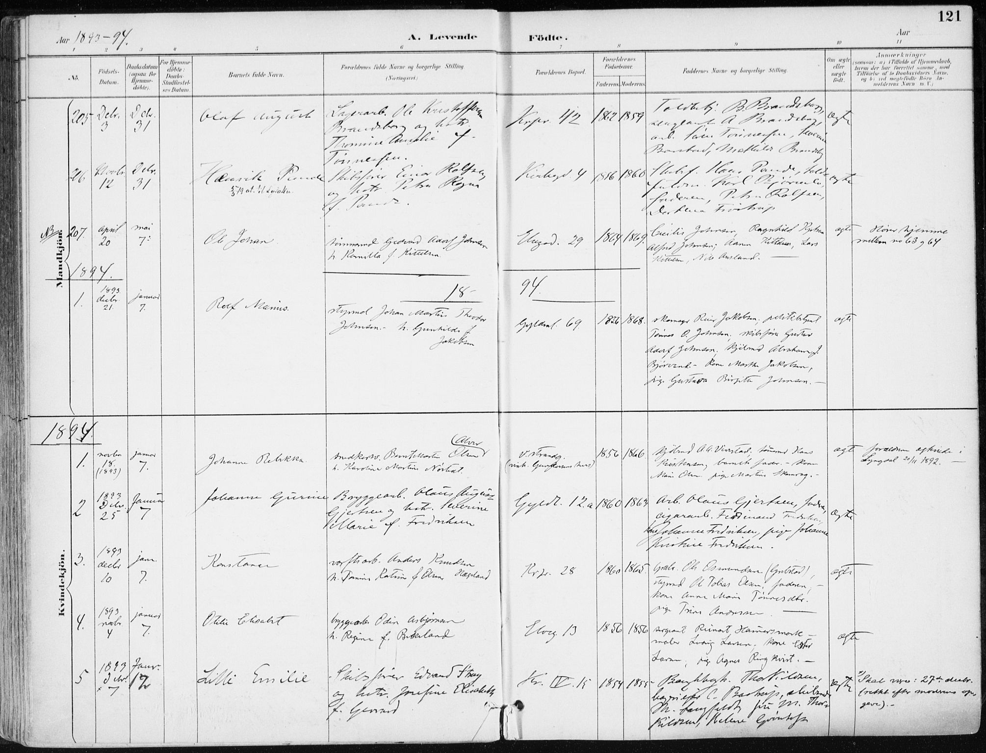 SAK, Kristiansand domprosti, F/Fa/L0019: Ministerialbok nr. A 18, 1890-1897, s. 121