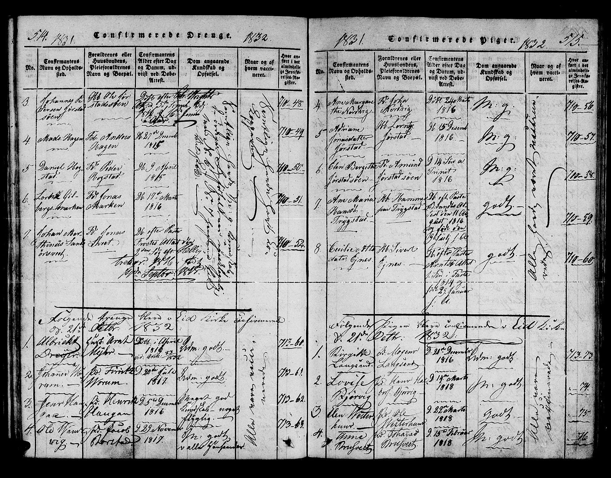 SAT, Ministerialprotokoller, klokkerbøker og fødselsregistre - Nord-Trøndelag, 722/L0217: Ministerialbok nr. 722A04, 1817-1842, s. 514-515