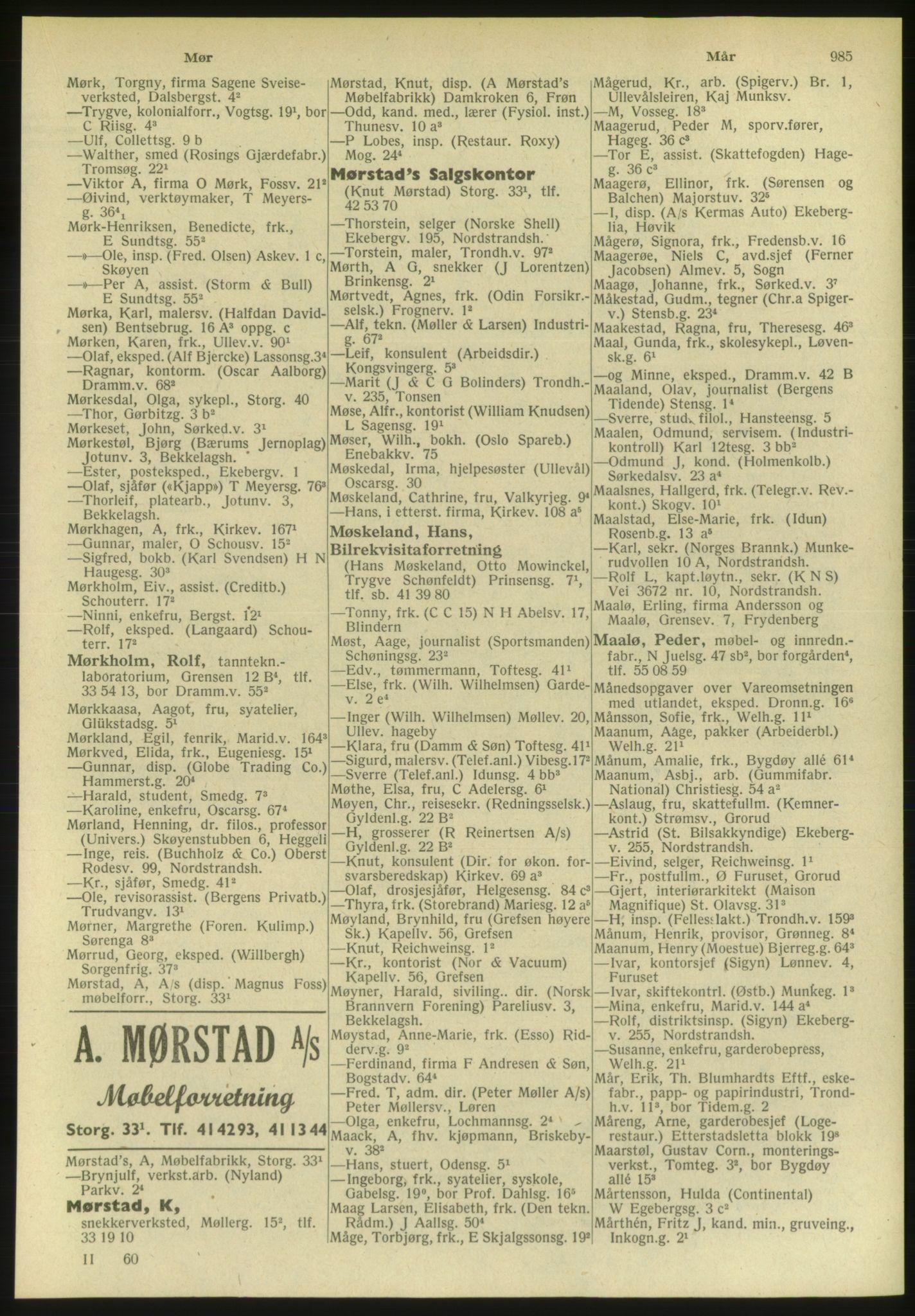 PUBL, Kristiania/Oslo adressebok, 1951, s. 985