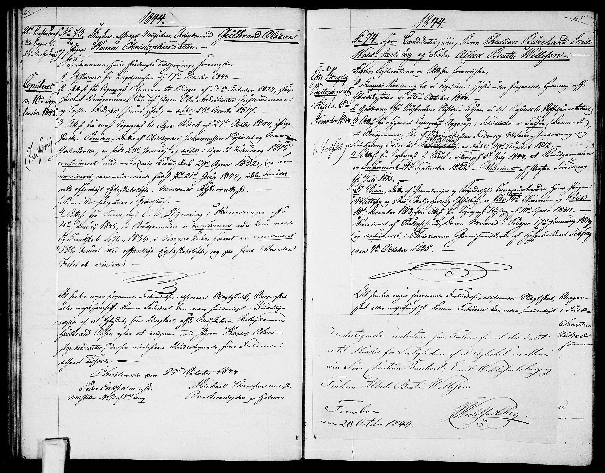 SAO, Garnisonsmenigheten Kirkebøker, H/Ha/L0005: Lysningsprotokoll nr. I 5, 1844-1856, s. 64-65