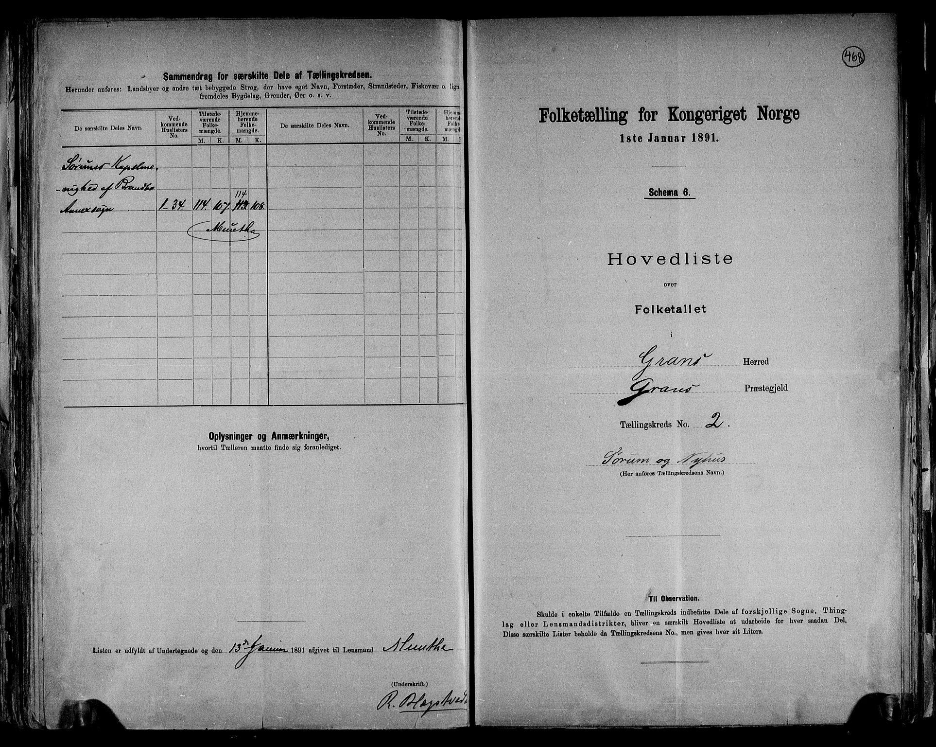 RA, Folketelling 1891 for 0534 Gran herred, 1891, s. 7