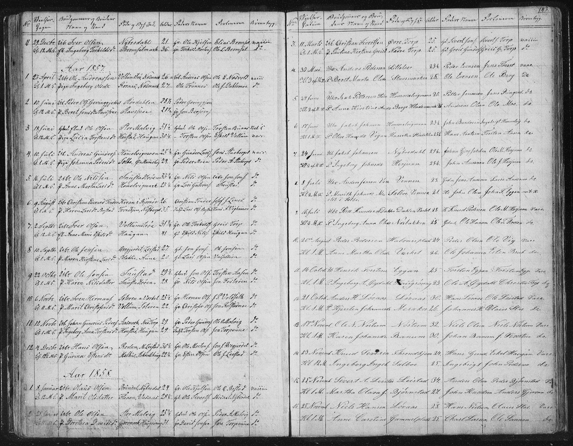 SAT, Ministerialprotokoller, klokkerbøker og fødselsregistre - Sør-Trøndelag, 616/L0406: Ministerialbok nr. 616A03, 1843-1879, s. 143