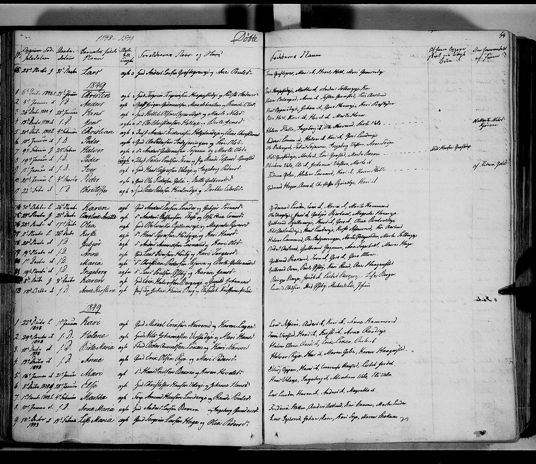 SAH, Jevnaker prestekontor, Ministerialbok nr. 6, 1837-1857, s. 44