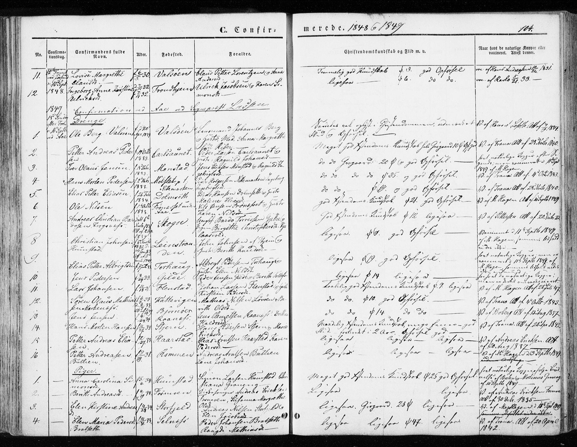 SAT, Ministerialprotokoller, klokkerbøker og fødselsregistre - Sør-Trøndelag, 655/L0677: Ministerialbok nr. 655A06, 1847-1860, s. 104
