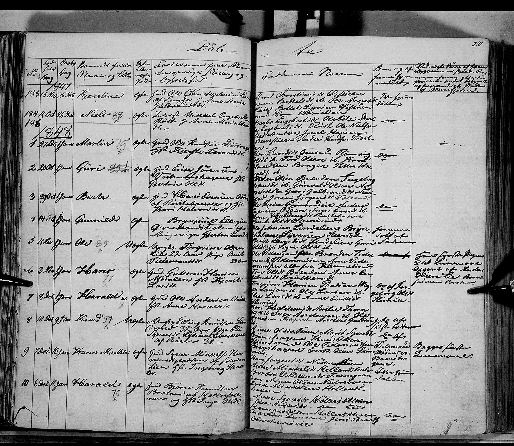 SAH, Sør-Aurdal prestekontor, Ministerialbok nr. 4, 1841-1849, s. 209-210