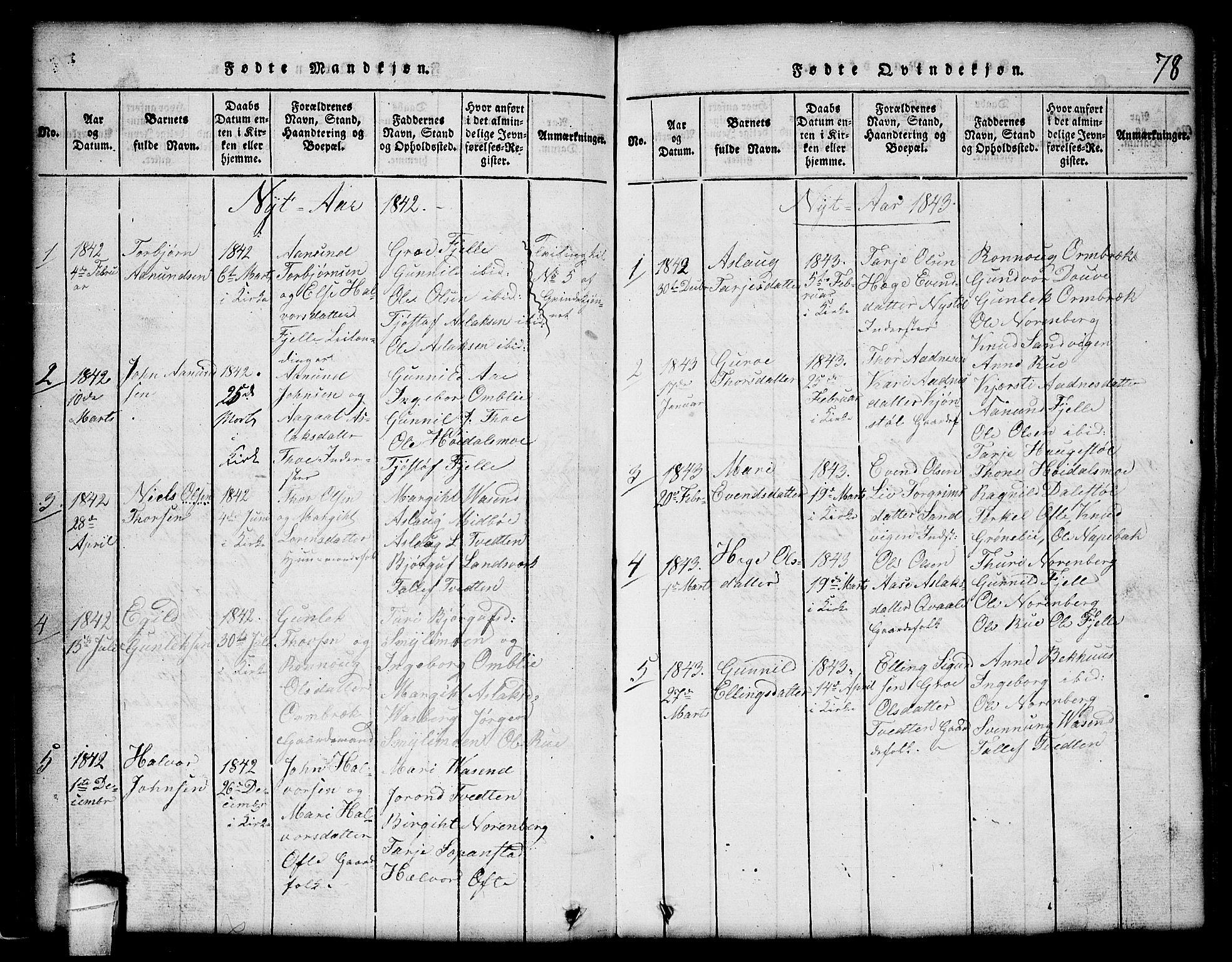 SAKO, Lårdal kirkebøker, G/Gc/L0001: Klokkerbok nr. III 1, 1815-1854, s. 78