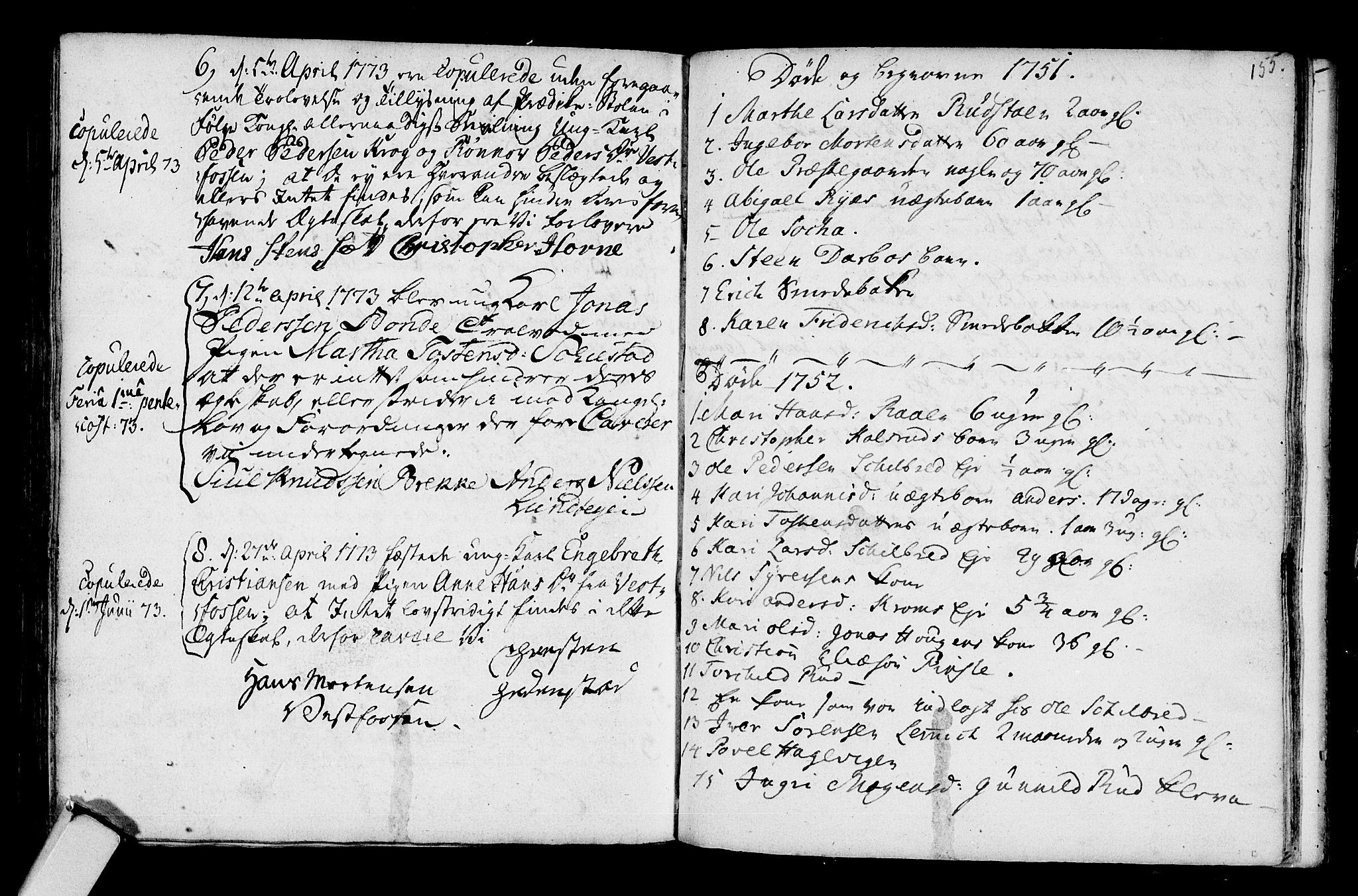 SAKO, Fiskum kirkebøker, G/Ga/L0001: Klokkerbok nr. 1, 1751-1764, s. 155