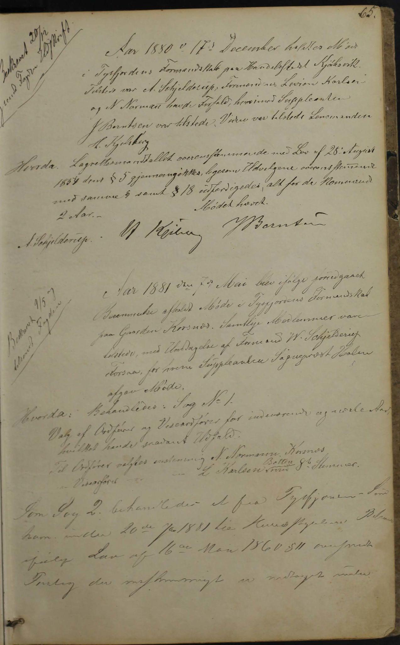 AIN, Tysfjord kommune. Formannskapet, 100/L0001: Forhandlingsprotokoll for Tysfjordens formandskab, 1869-1895, s. 65