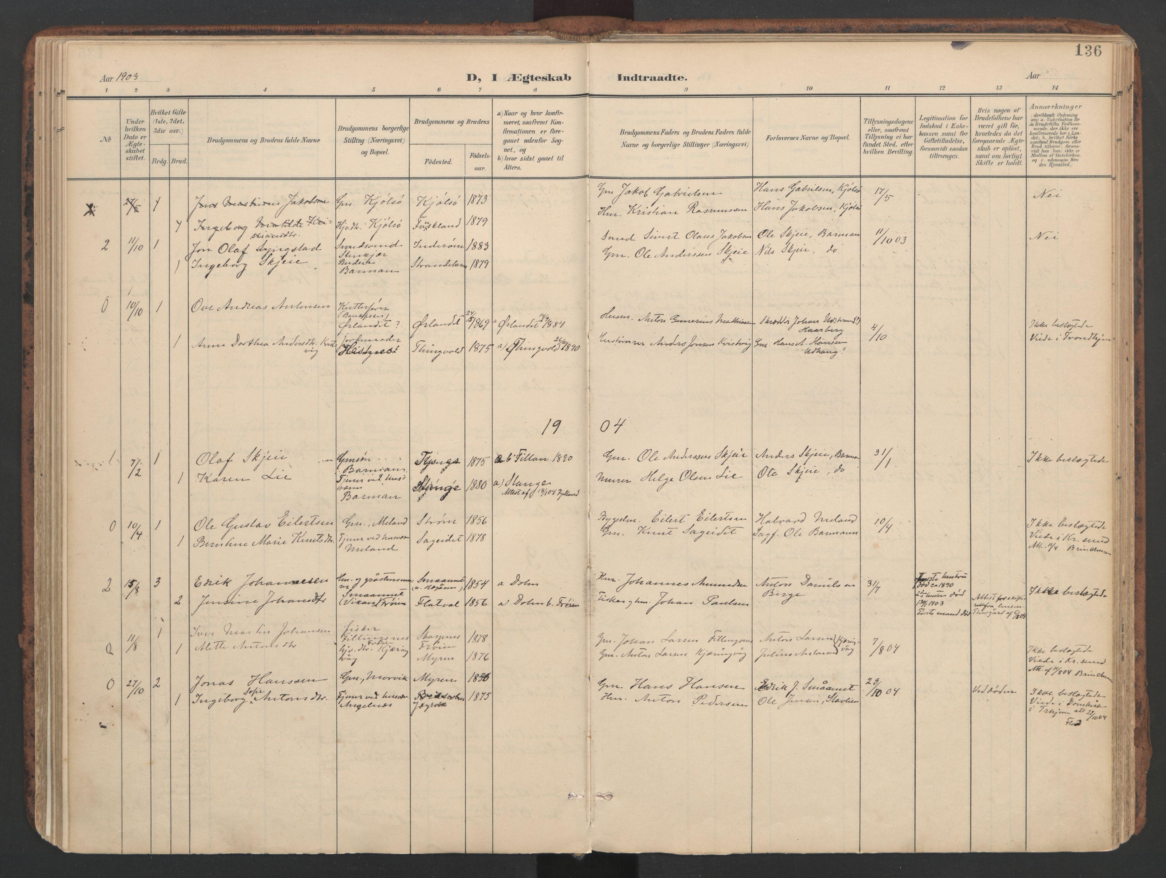SAT, Ministerialprotokoller, klokkerbøker og fødselsregistre - Sør-Trøndelag, 634/L0537: Ministerialbok nr. 634A13, 1896-1922, s. 136