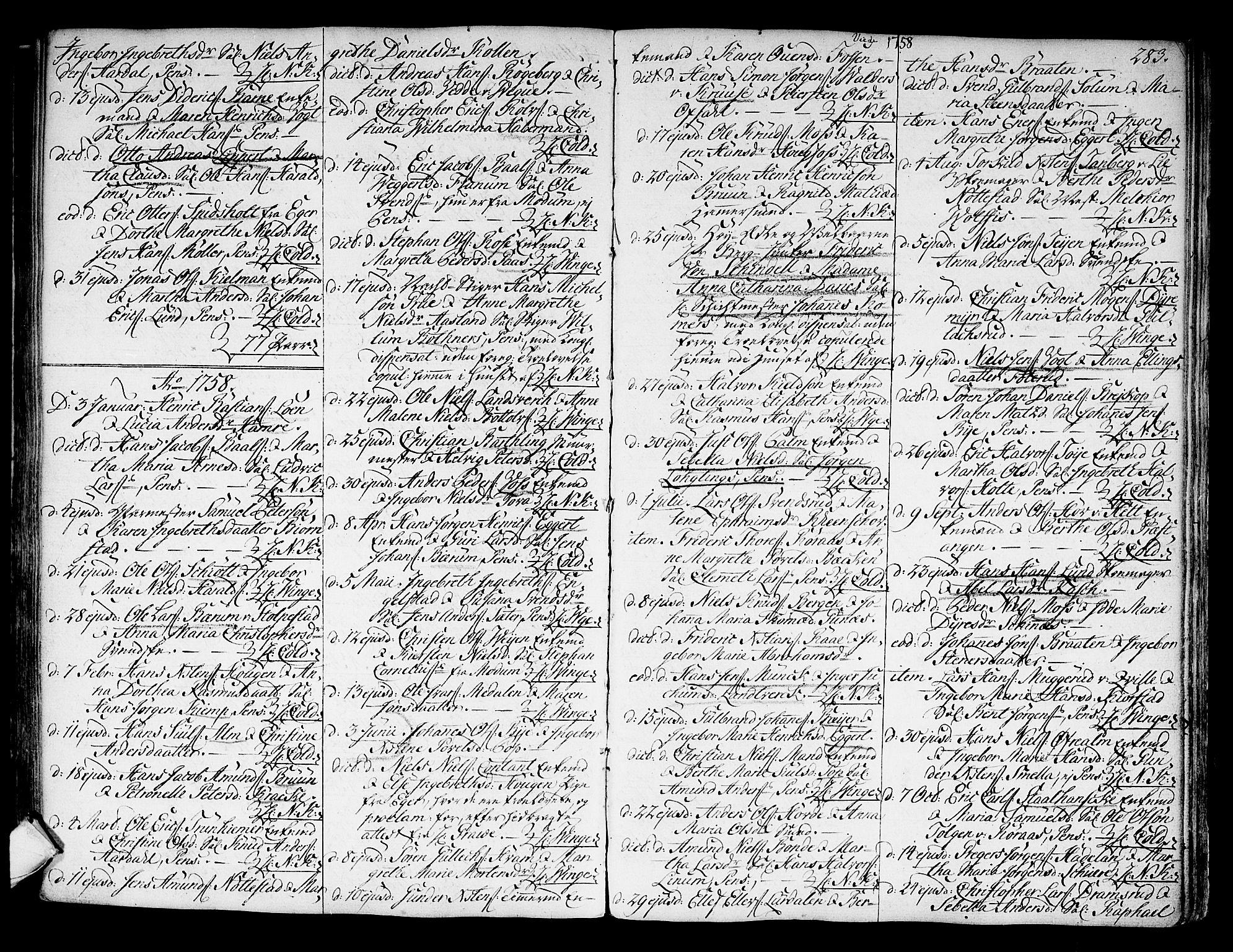 SAKO, Kongsberg kirkebøker, F/Fa/L0004: Ministerialbok nr. I 4, 1756-1768, s. 283