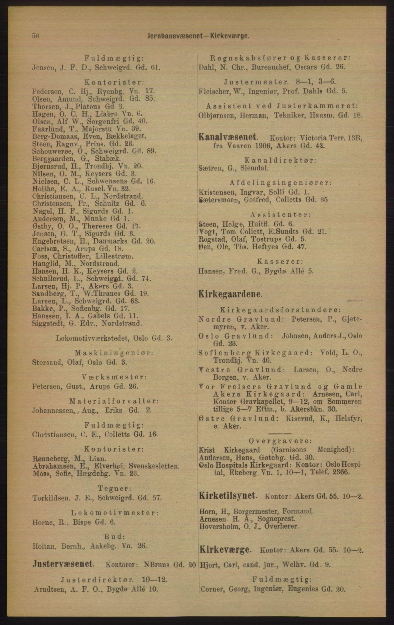 RA, Kristiania adressebok (publikasjon)*, 1906, s. 56