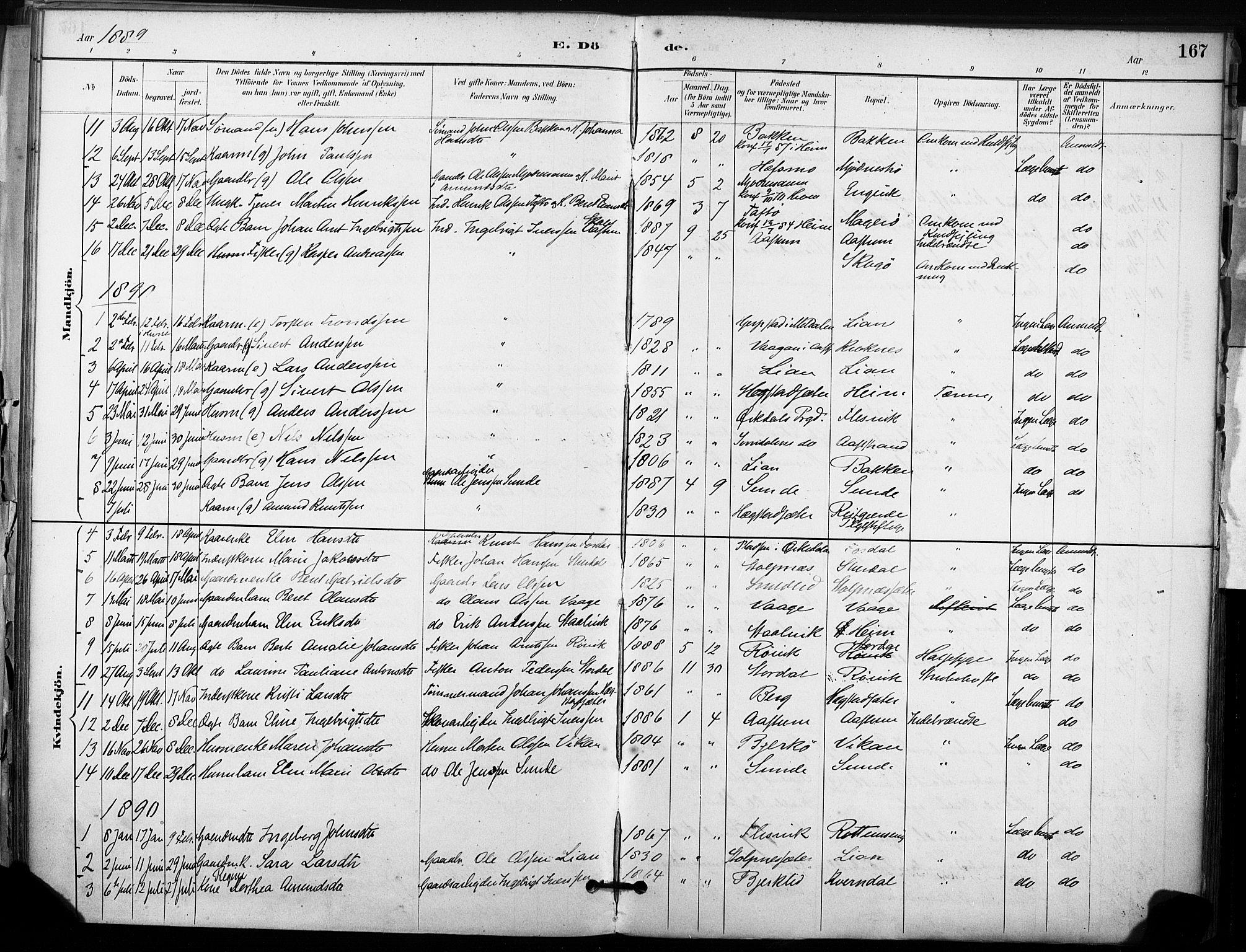 SAT, Ministerialprotokoller, klokkerbøker og fødselsregistre - Sør-Trøndelag, 633/L0518: Ministerialbok nr. 633A01, 1884-1906, s. 167