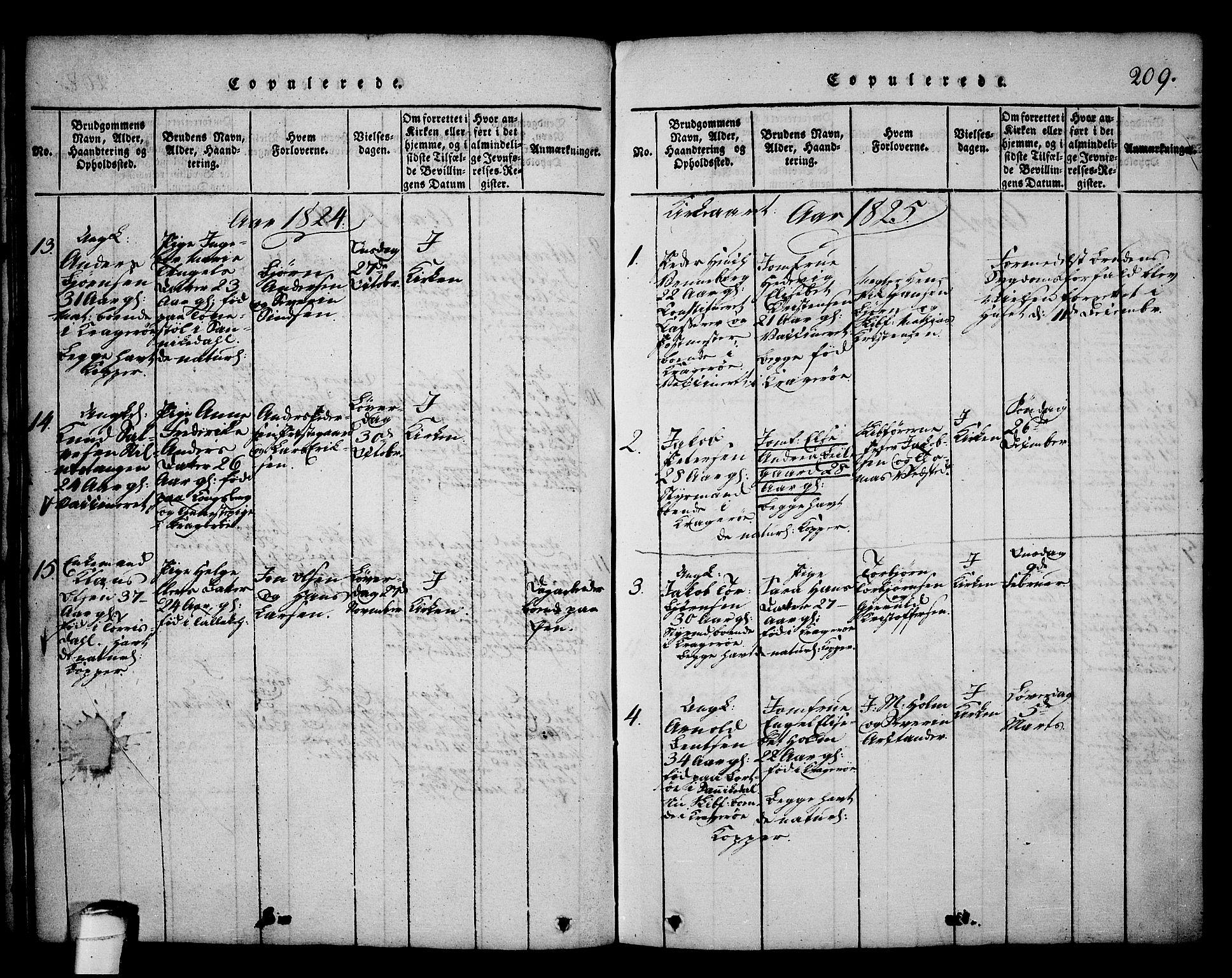 SAKO, Kragerø kirkebøker, G/Ga/L0002: Klokkerbok nr. 2, 1814-1831, s. 209