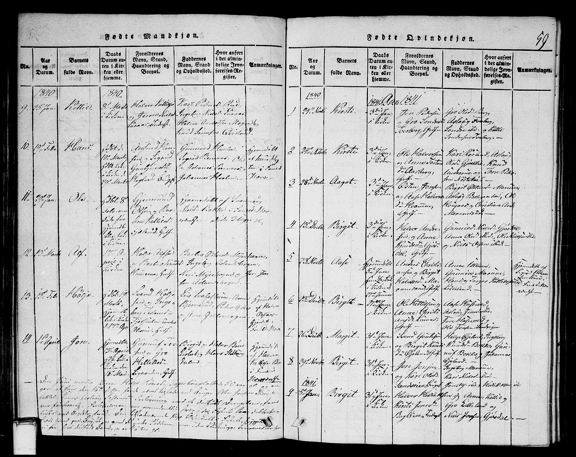 SAKO, Tinn kirkebøker, G/Gb/L0001: Klokkerbok nr. II 1 /2, 1837-1850, s. 59