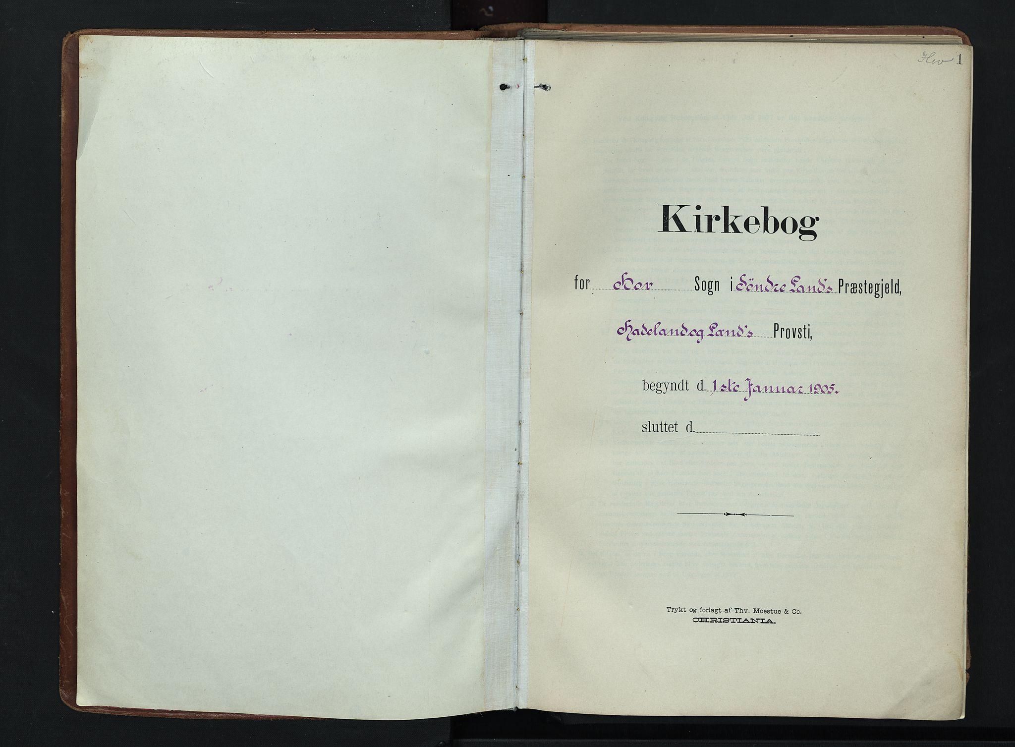 SAH, Søndre Land prestekontor, K/L0007: Ministerialbok nr. 7, 1905-1914, s. 1