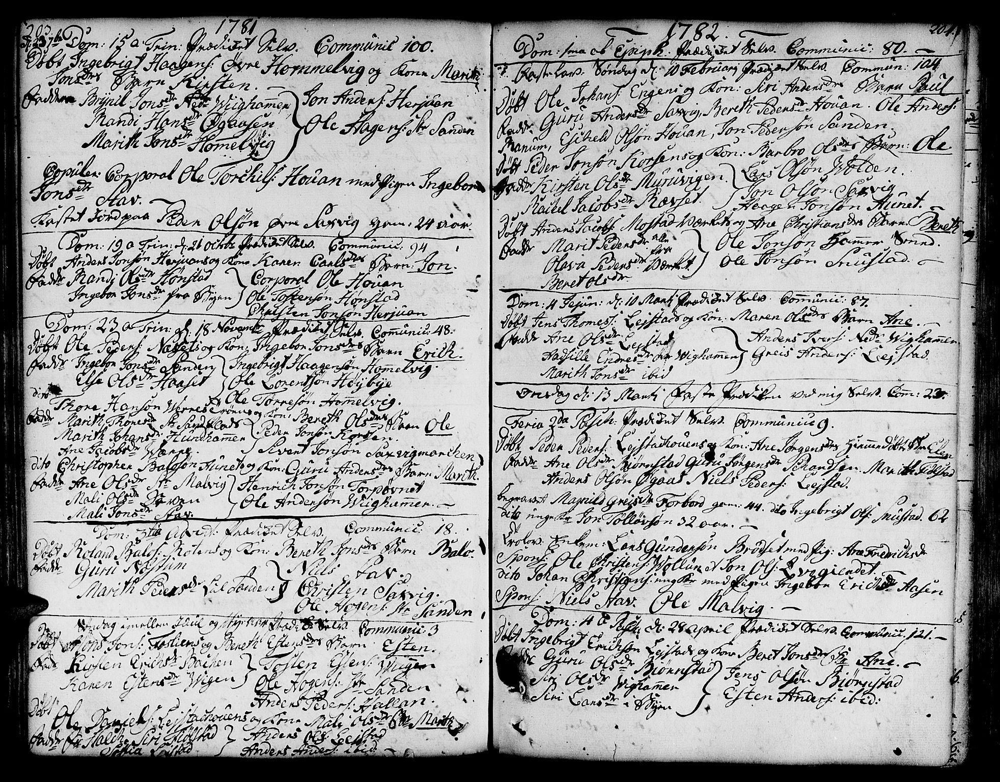 SAT, Ministerialprotokoller, klokkerbøker og fødselsregistre - Sør-Trøndelag, 606/L0281: Ministerialbok nr. 606A02 /2, 1781-1817, s. 203-204