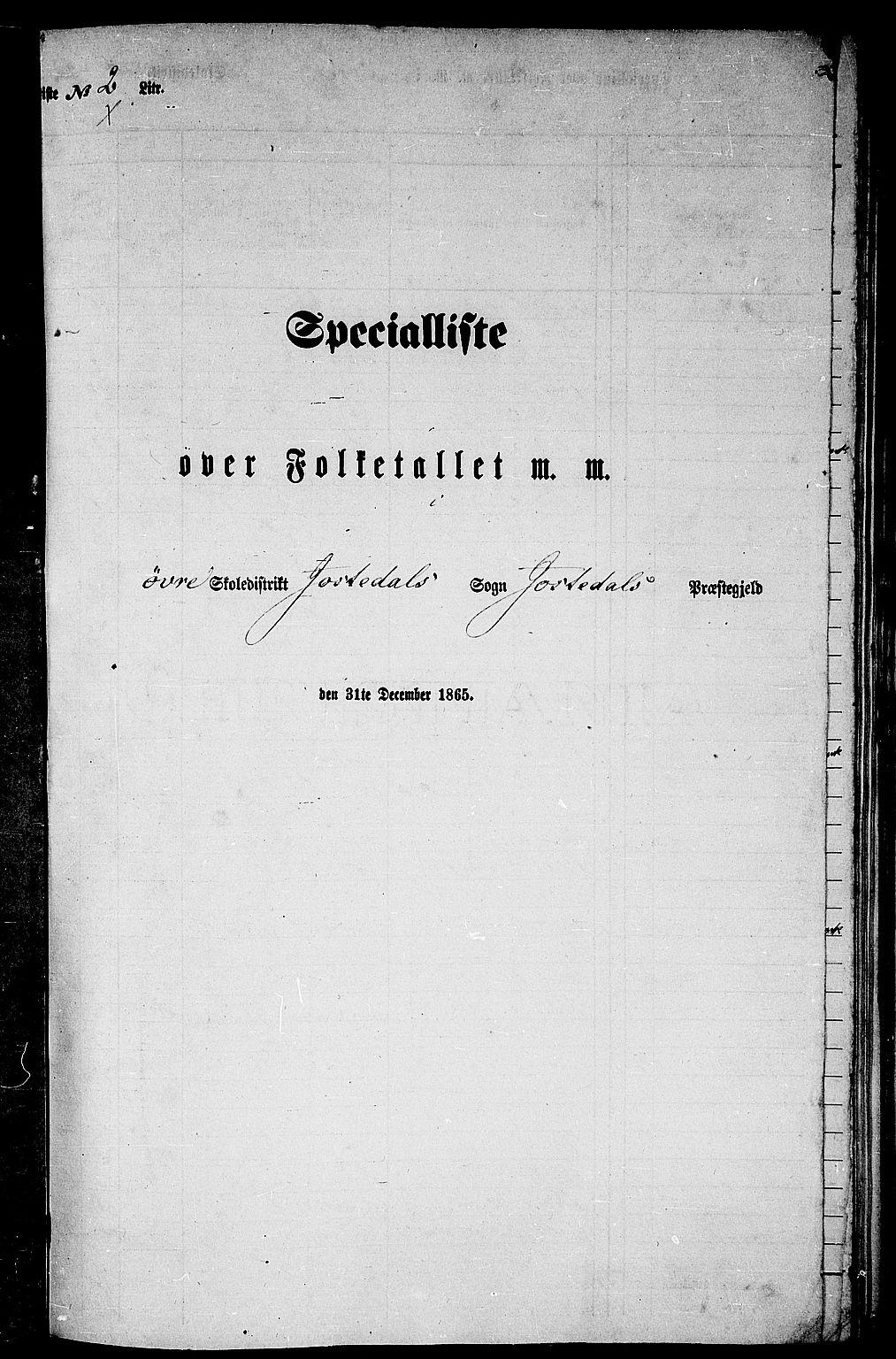 RA, Folketelling 1865 for 1427P Jostedal prestegjeld, 1865, s. 24