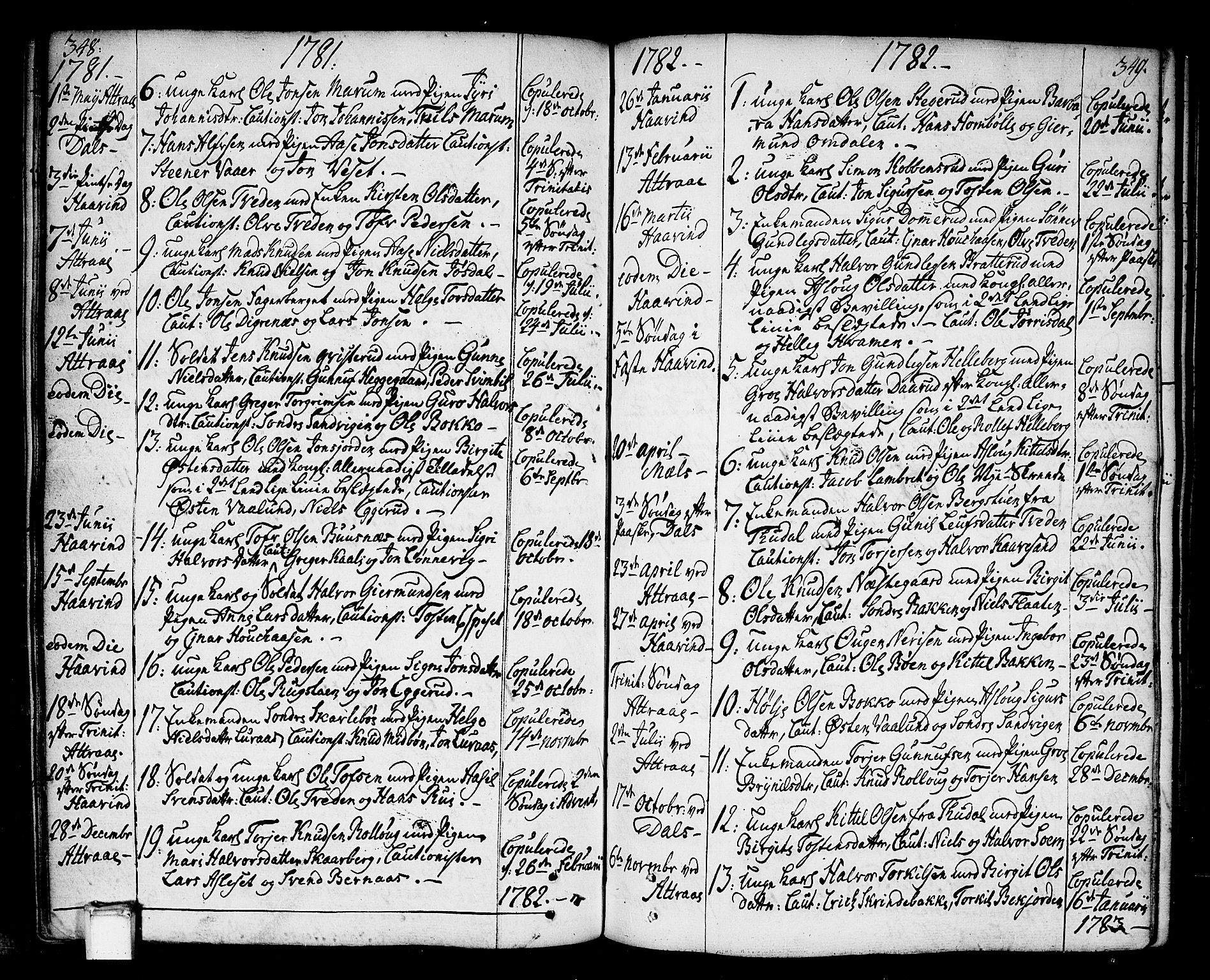 SAKO, Tinn kirkebøker, F/Fa/L0002: Ministerialbok nr. I 2, 1757-1810, s. 348-349