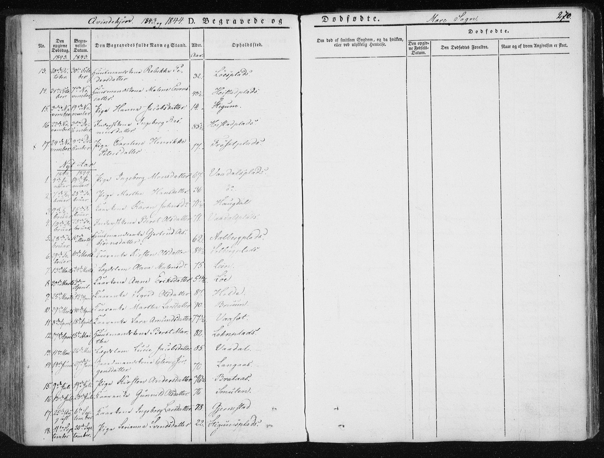 SAT, Ministerialprotokoller, klokkerbøker og fødselsregistre - Nord-Trøndelag, 735/L0339: Ministerialbok nr. 735A06 /1, 1836-1848, s. 270