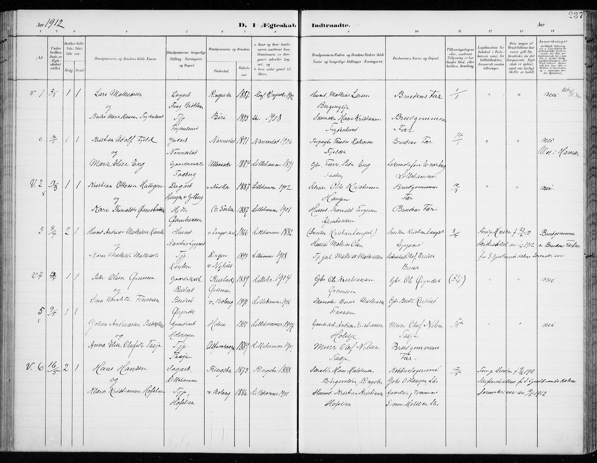 SAH, Fåberg prestekontor, Ministerialbok nr. 11, 1899-1913, s. 237