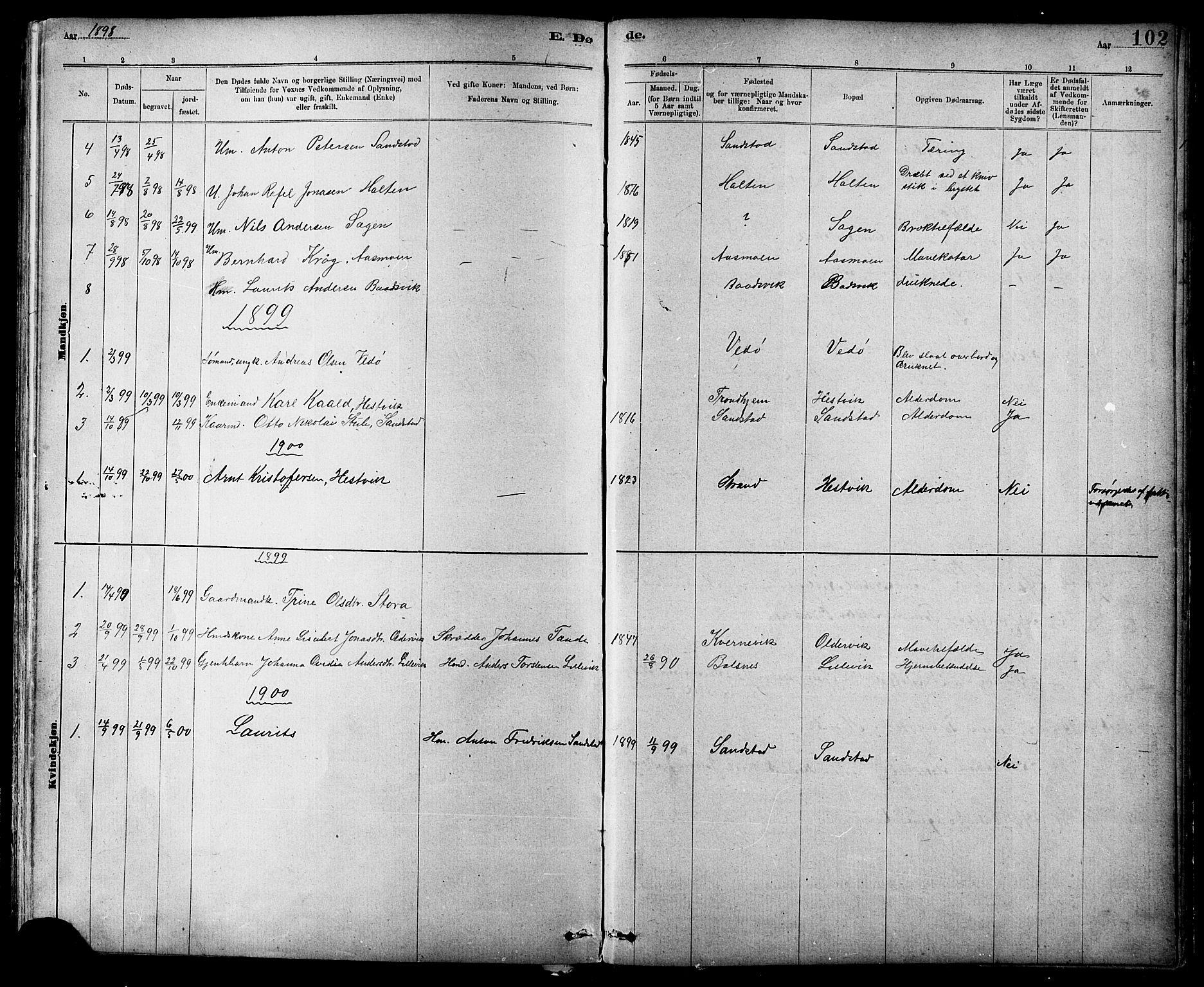 SAT, Ministerialprotokoller, klokkerbøker og fødselsregistre - Sør-Trøndelag, 639/L0573: Klokkerbok nr. 639C01, 1890-1905, s. 102