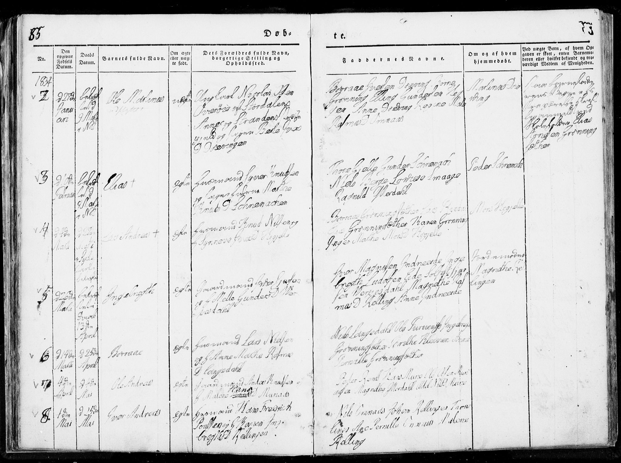 SAT, Ministerialprotokoller, klokkerbøker og fødselsregistre - Møre og Romsdal, 519/L0247: Ministerialbok nr. 519A06, 1827-1846, s. 85