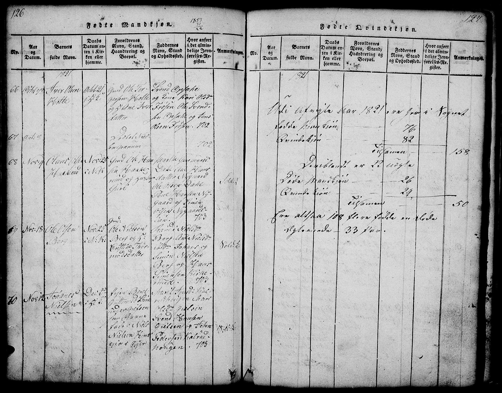 SAH, Gausdal prestekontor, Klokkerbok nr. 1, 1817-1848, s. 126-127