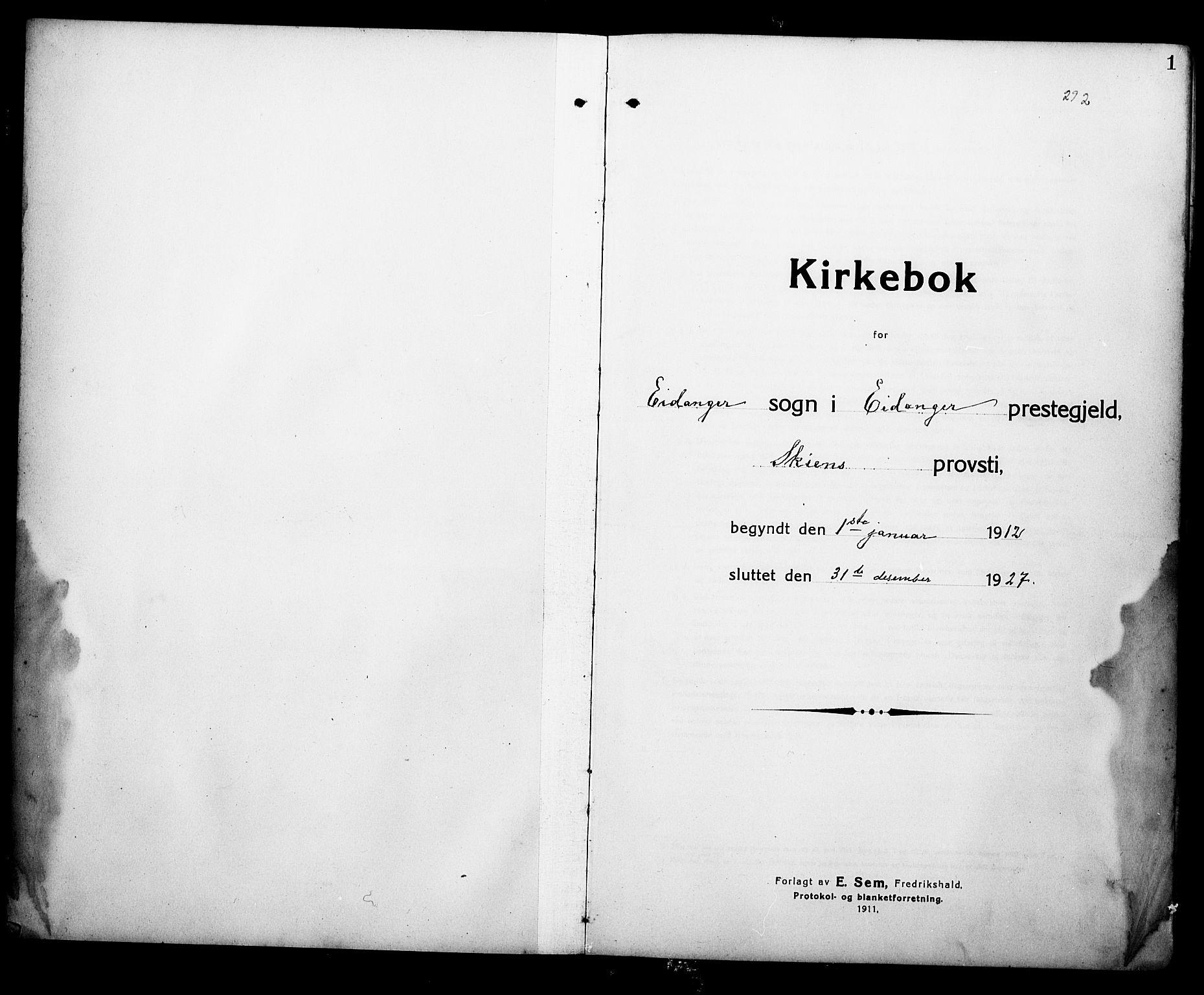 SAKO, Eidanger kirkebøker, G/Ga/L0004: Klokkerbok nr. 4, 1912-1927, s. 1