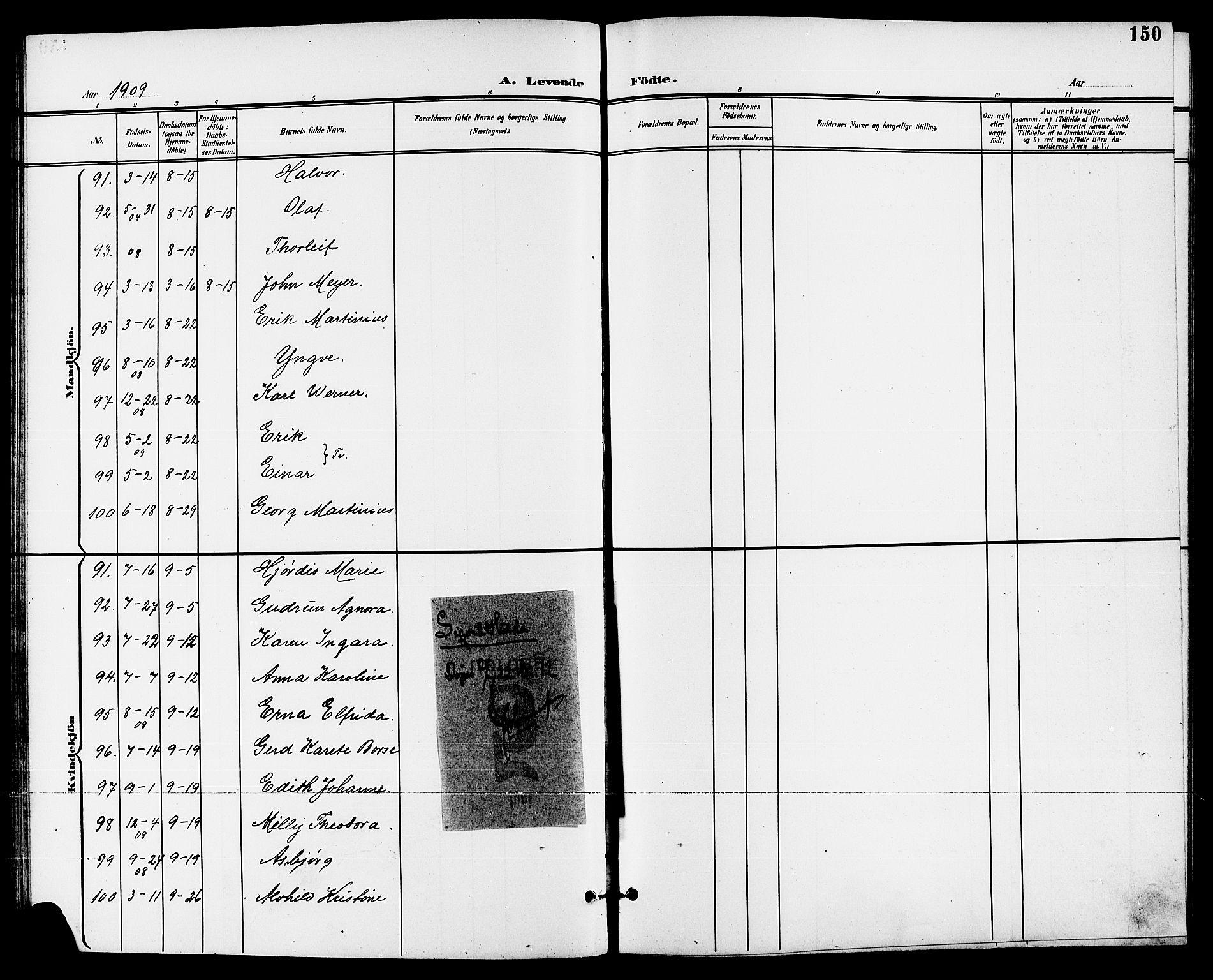 SAKO, Skien kirkebøker, G/Ga/L0008: Klokkerbok nr. 8, 1900-1910, s. 150