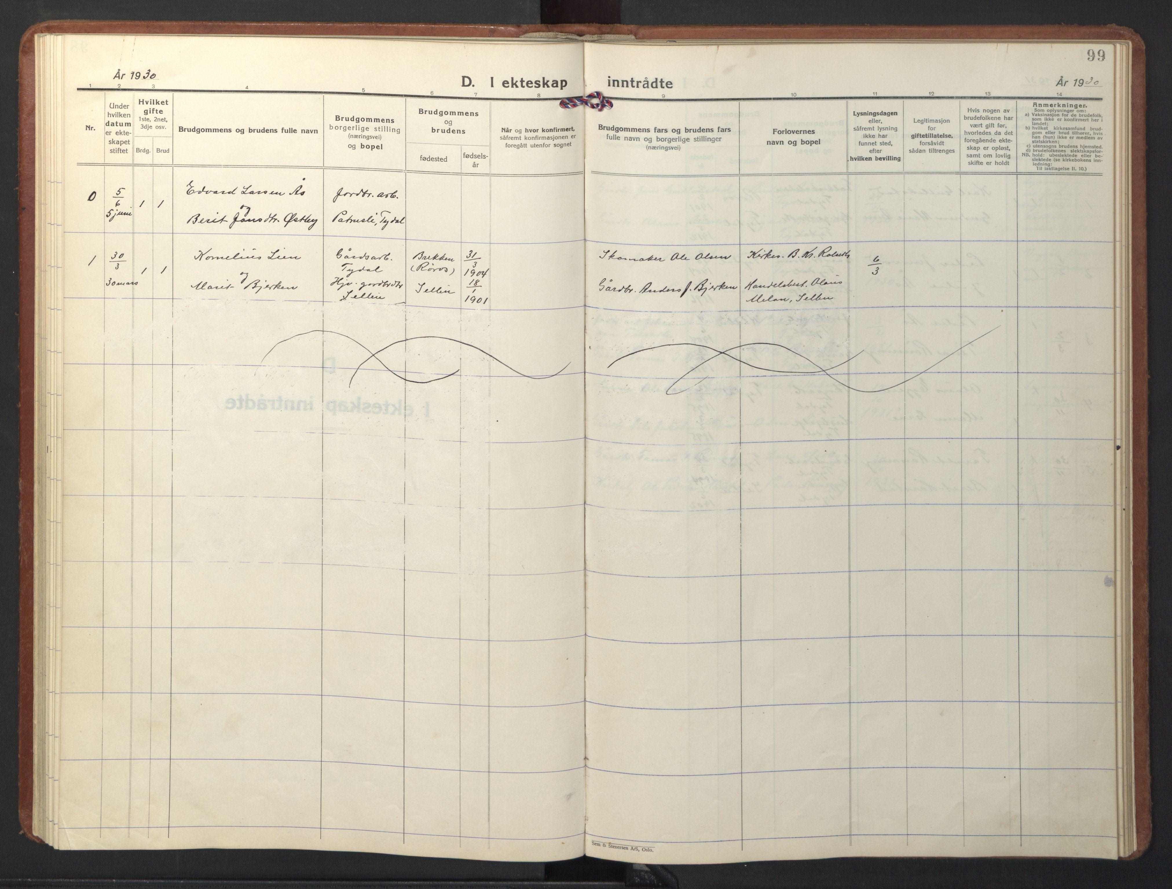 SAT, Ministerialprotokoller, klokkerbøker og fødselsregistre - Sør-Trøndelag, 698/L1169: Klokkerbok nr. 698C06, 1930-1949, s. 99