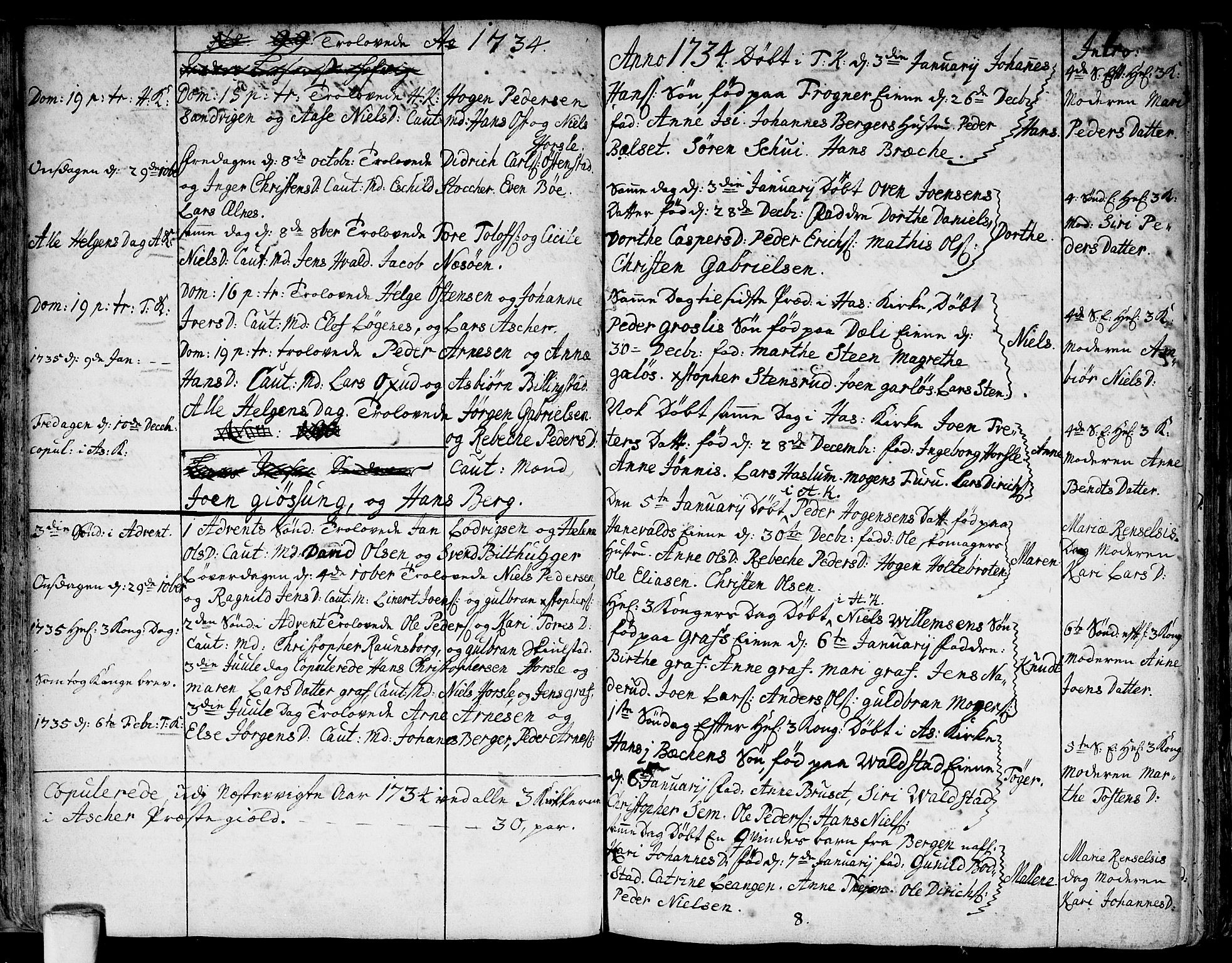 SAO, Asker prestekontor Kirkebøker, F/Fa/L0001: Ministerialbok nr. I 1, 1726-1744, s. 28