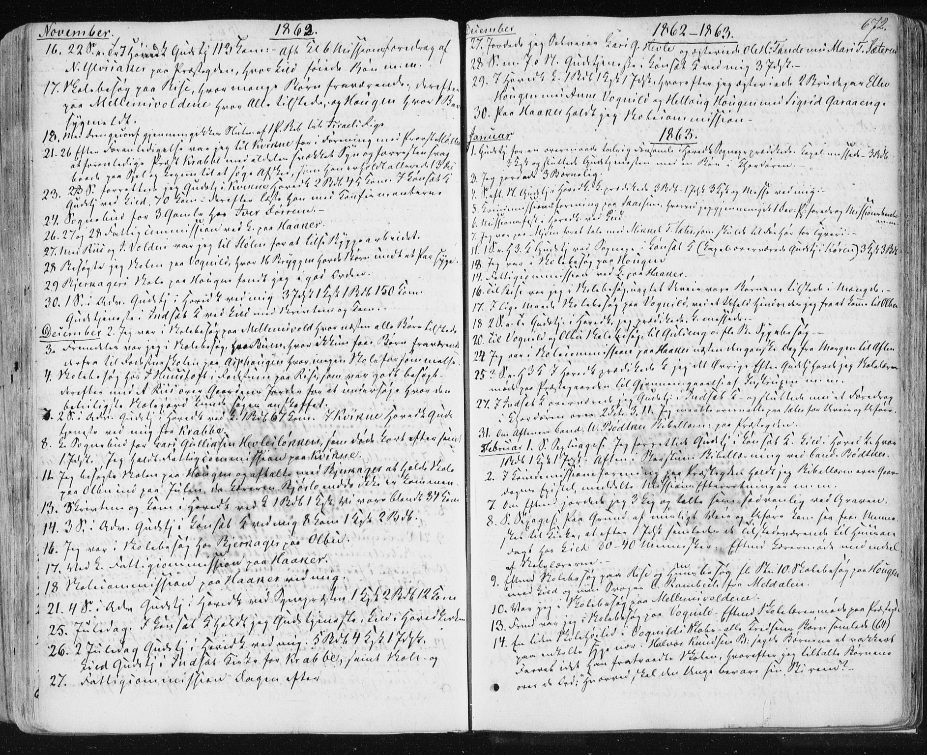 SAT, Ministerialprotokoller, klokkerbøker og fødselsregistre - Sør-Trøndelag, 678/L0899: Ministerialbok nr. 678A08, 1848-1872, s. 672