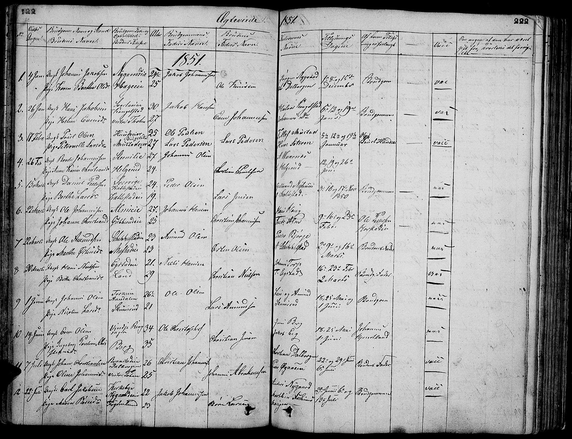 SAH, Vardal prestekontor, H/Ha/Hab/L0004: Klokkerbok nr. 4, 1831-1853, s. 222