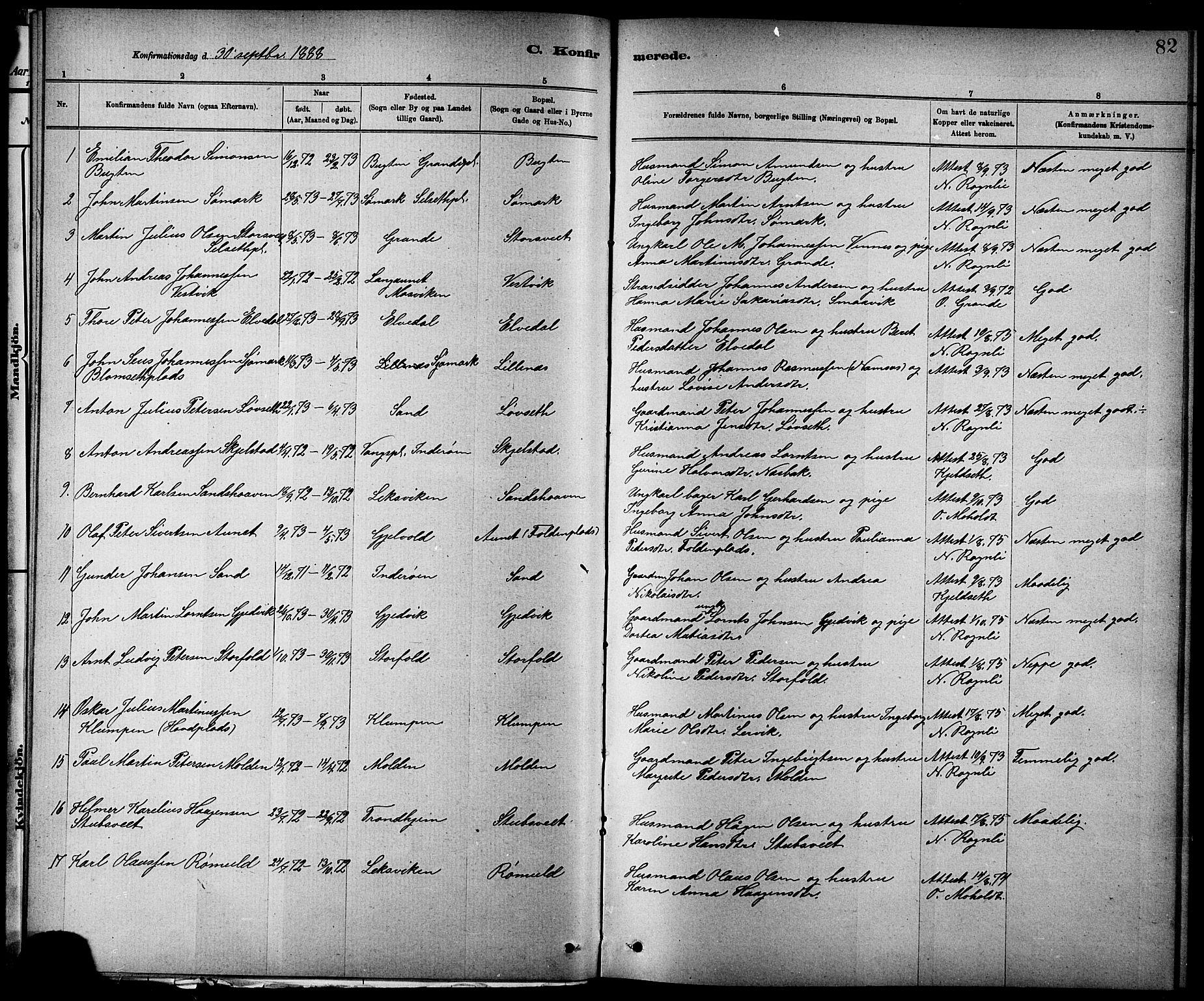 SAT, Ministerialprotokoller, klokkerbøker og fødselsregistre - Nord-Trøndelag, 744/L0423: Klokkerbok nr. 744C02, 1886-1905, s. 82