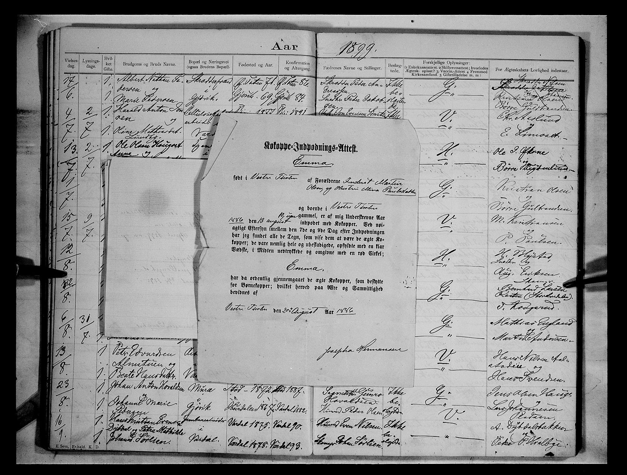 SAH, Vardal prestekontor, H/Ha/Hab/L0004: Lysningsprotokoll nr. 4, 1892-1907