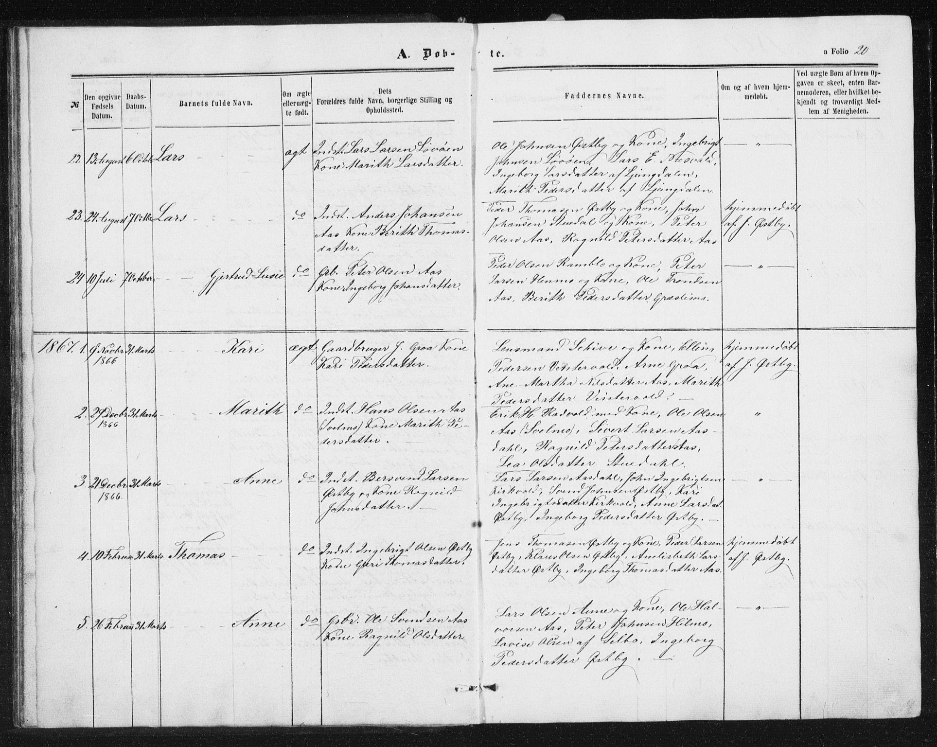 SAT, Ministerialprotokoller, klokkerbøker og fødselsregistre - Sør-Trøndelag, 698/L1166: Klokkerbok nr. 698C03, 1861-1887, s. 20