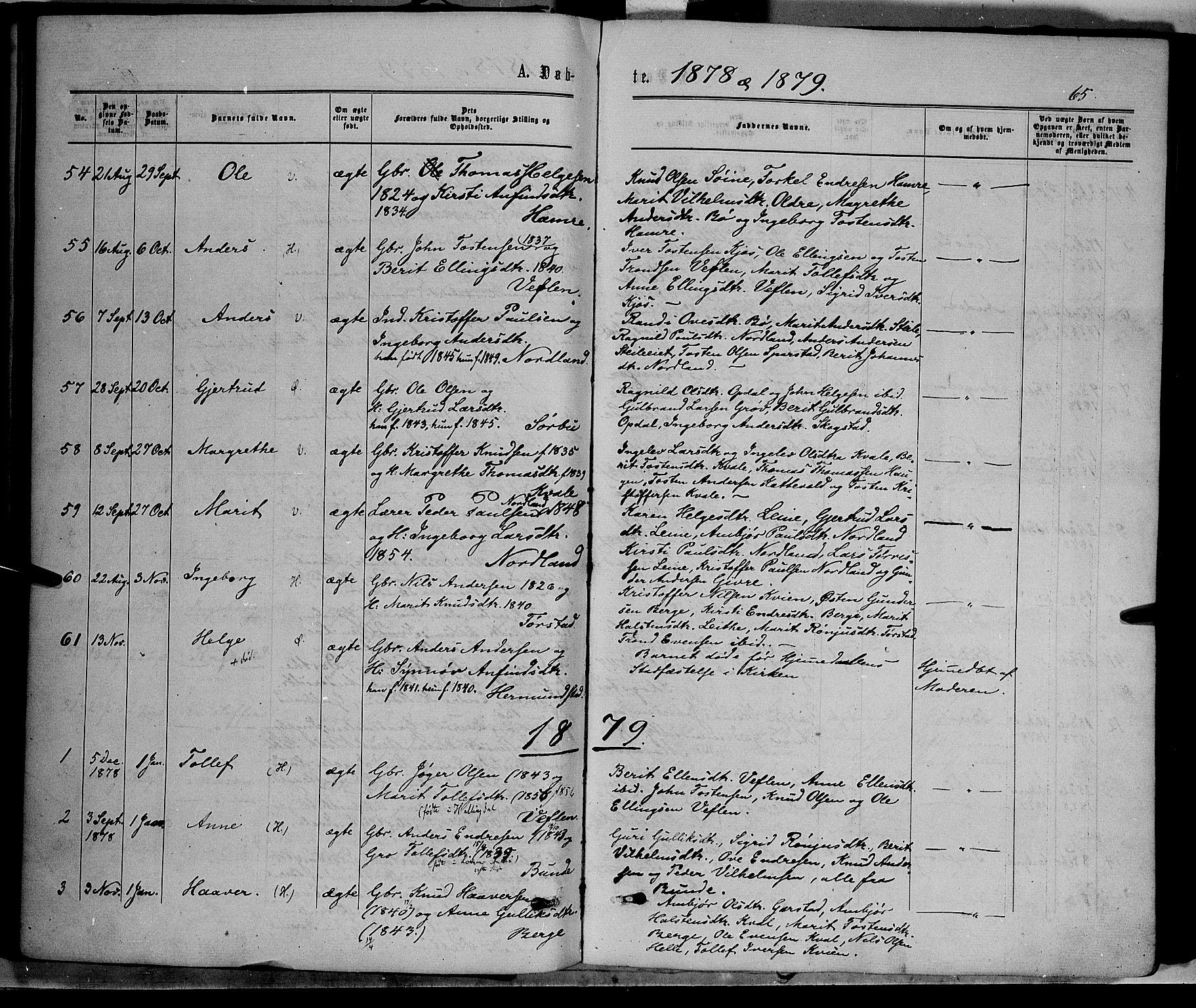 SAH, Vang prestekontor, Valdres, Ministerialbok nr. 7, 1865-1881, s. 65