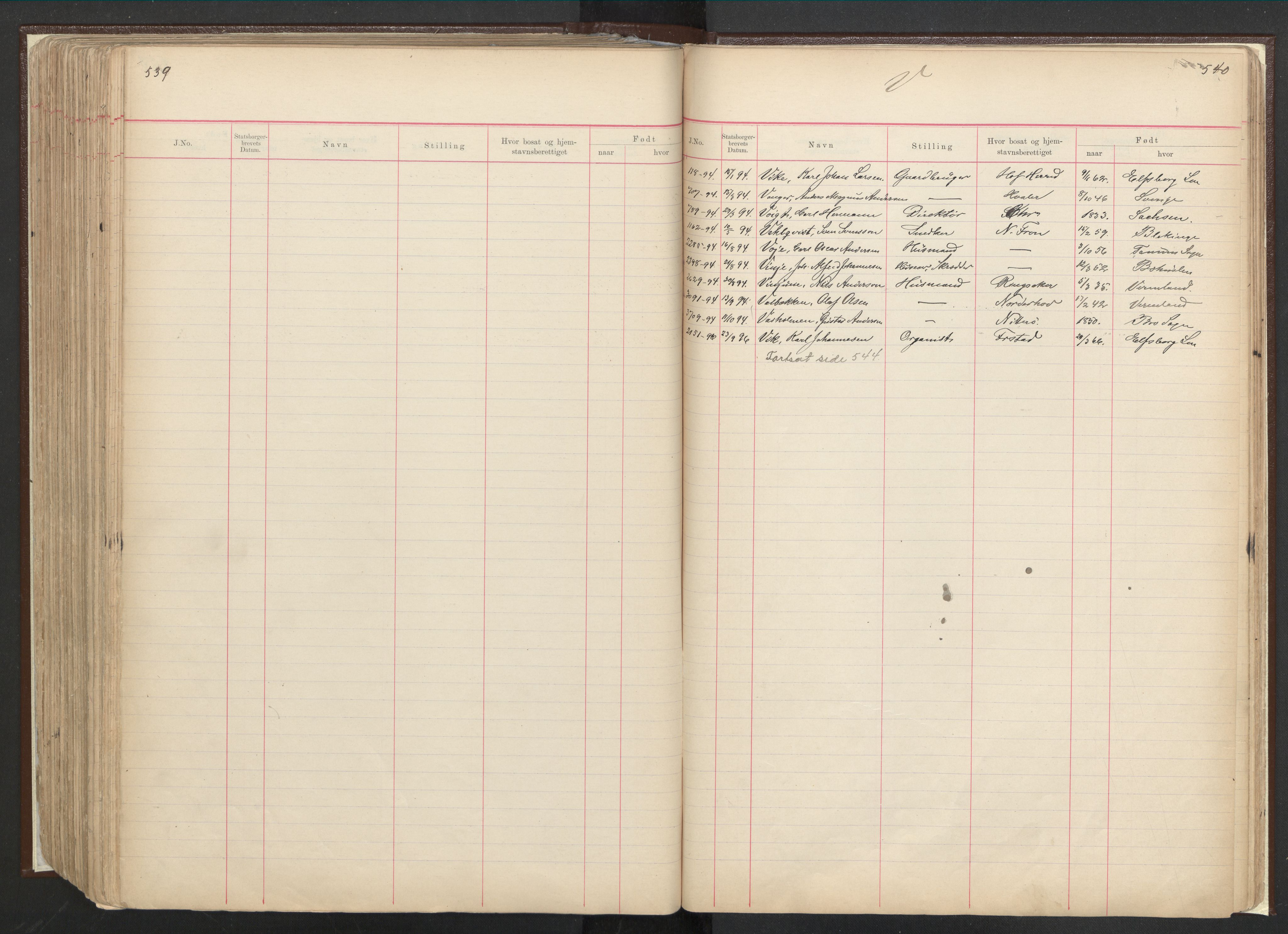 RA, Justisdepartementet, 3. politikontor P3, C/Cc/L0001: Journal over statsborgersaker, 1891-1946, s. 539-540