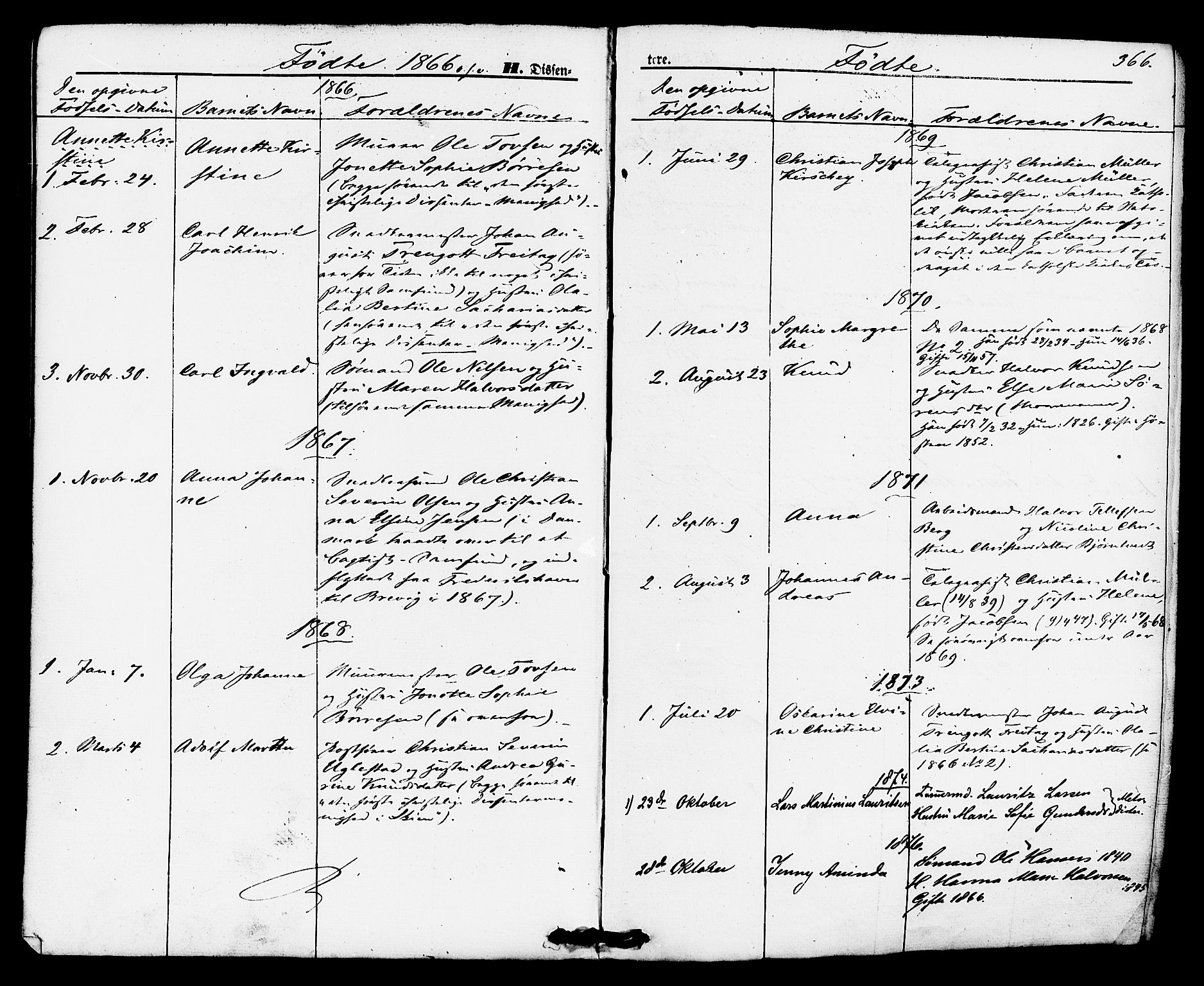 SAKO, Brevik kirkebøker, F/Fa/L0006: Ministerialbok nr. 6, 1866-1881, s. 366