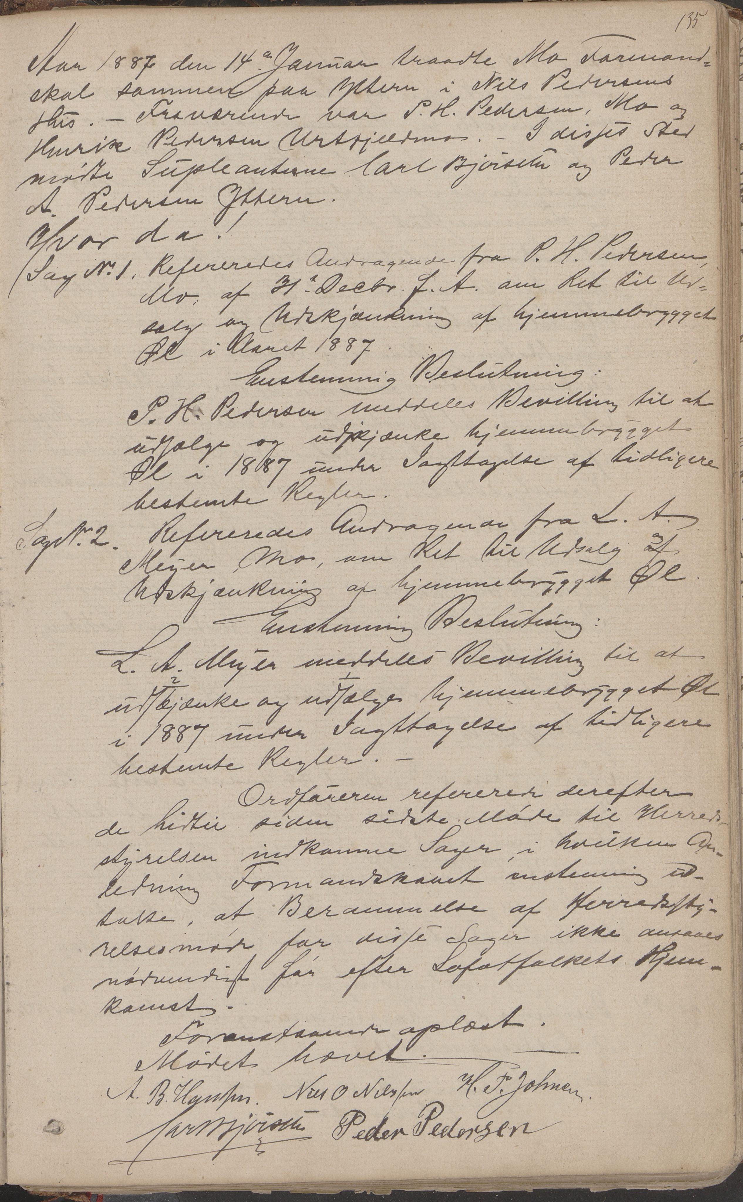 AIN, Mo kommune. Formannskapet, A/Aa/L0002: Møtebok, 1876-1891, s. 135