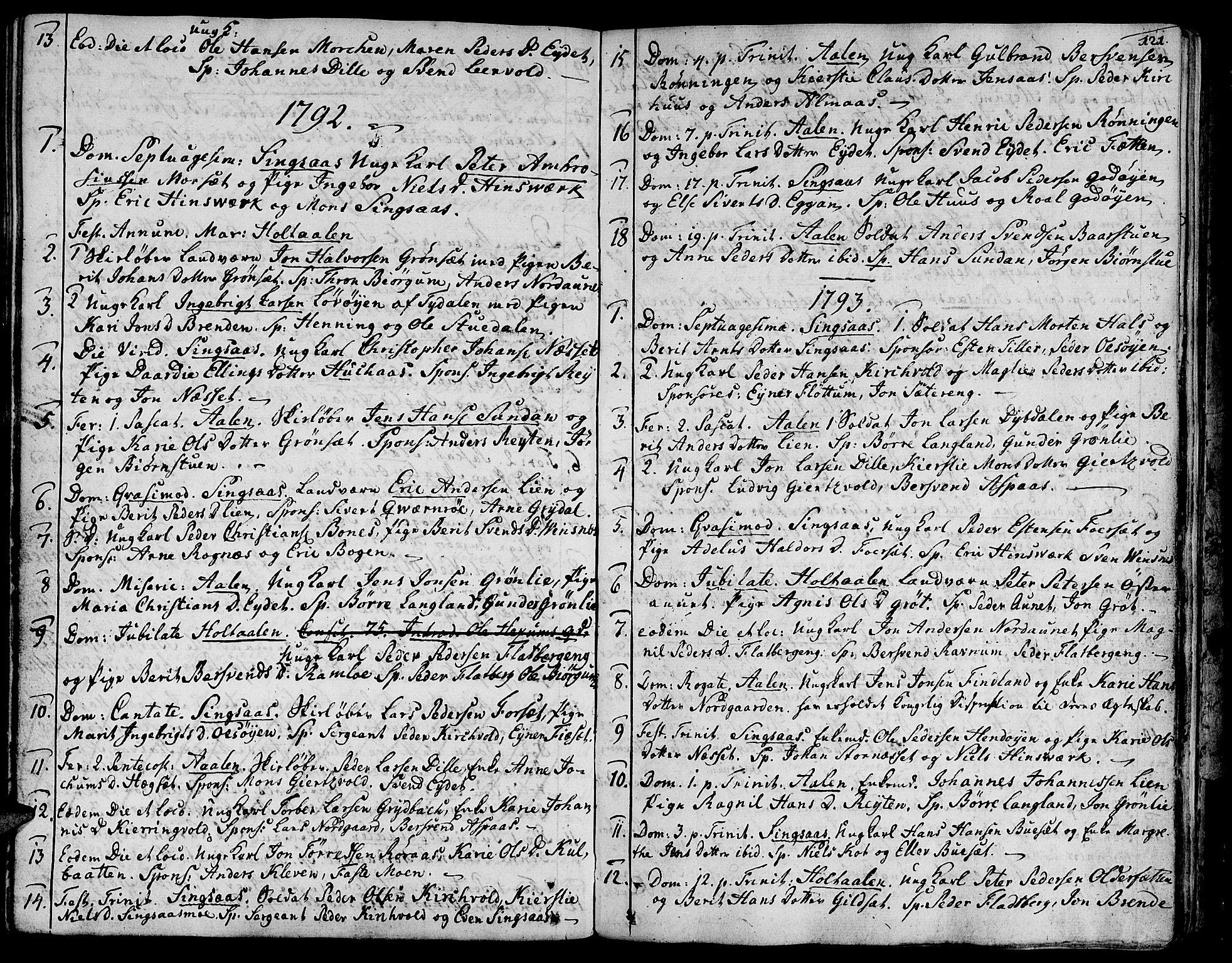 SAT, Ministerialprotokoller, klokkerbøker og fødselsregistre - Sør-Trøndelag, 685/L0952: Ministerialbok nr. 685A01, 1745-1804, s. 121