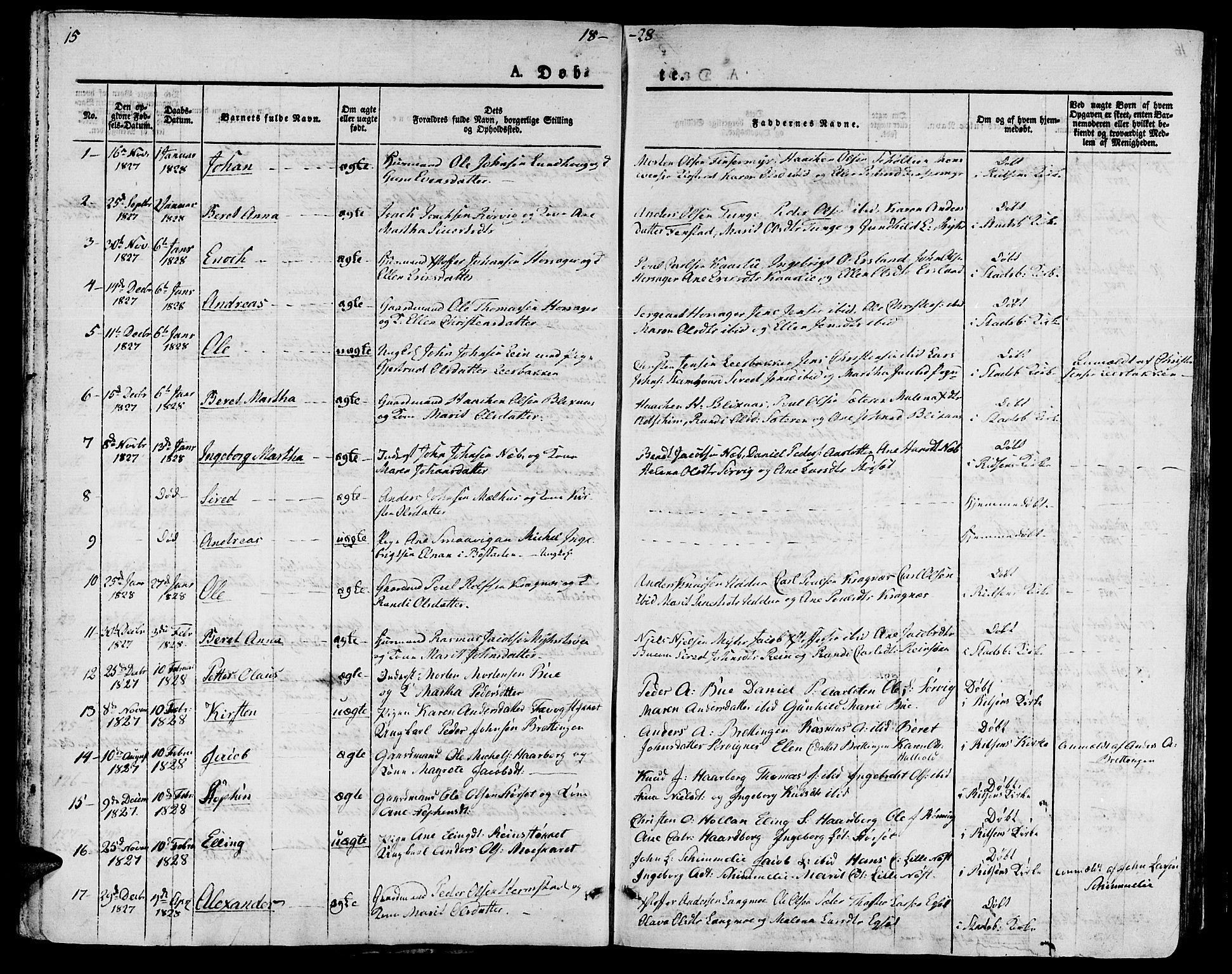 SAT, Ministerialprotokoller, klokkerbøker og fødselsregistre - Sør-Trøndelag, 646/L0609: Ministerialbok nr. 646A07, 1826-1838, s. 15