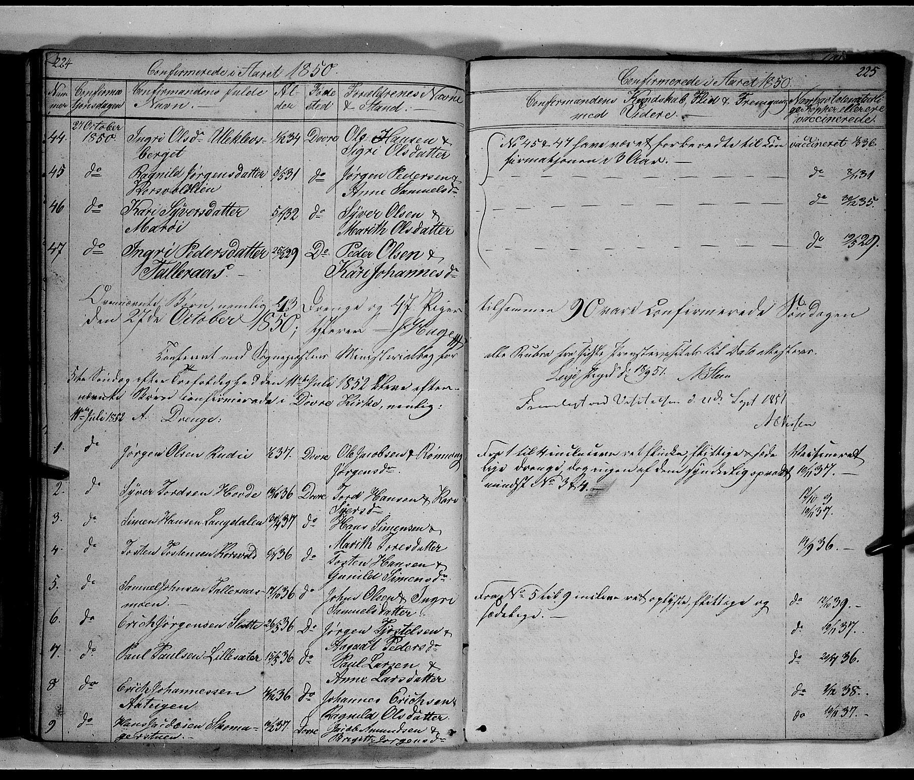 SAH, Lesja prestekontor, Klokkerbok nr. 3, 1842-1862, s. 224-225