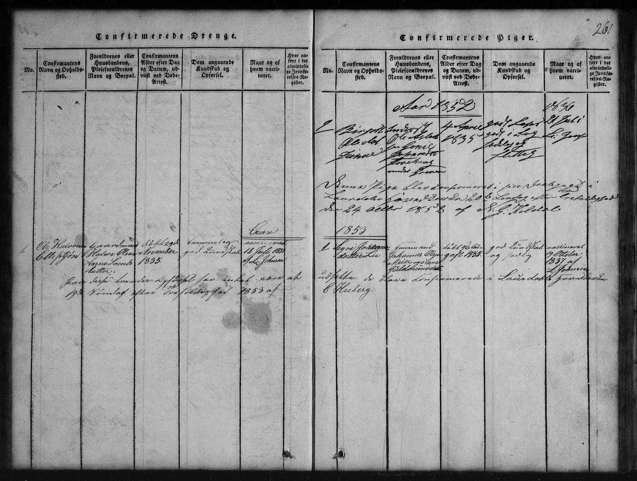 SAKO, Rauland kirkebøker, G/Gb/L0001: Klokkerbok nr. II 1, 1815-1886, s. 261