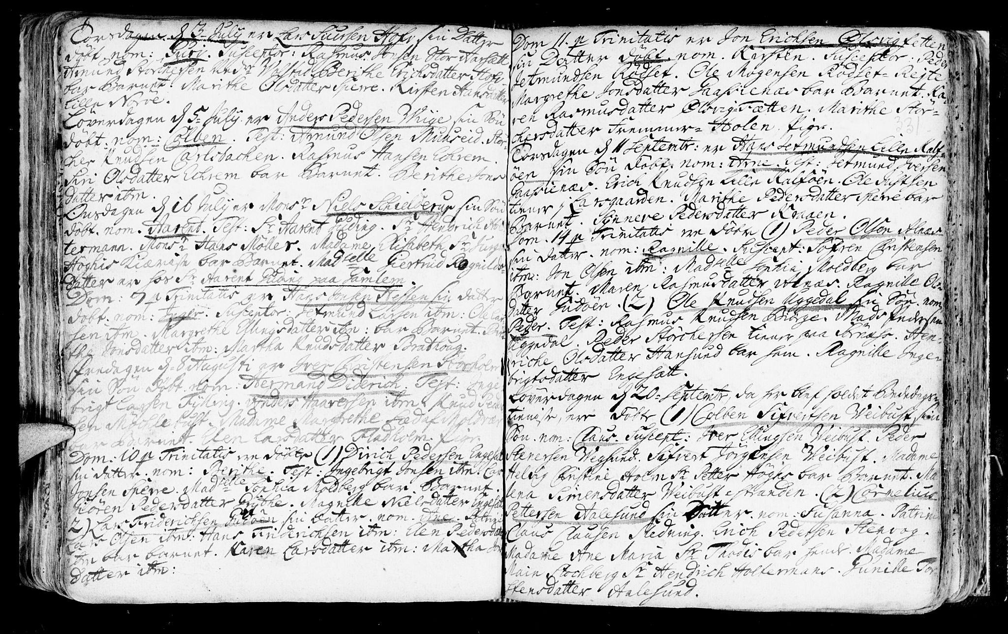 SAT, Ministerialprotokoller, klokkerbøker og fødselsregistre - Møre og Romsdal, 528/L0390: Ministerialbok nr. 528A01, 1698-1739, s. 330-331