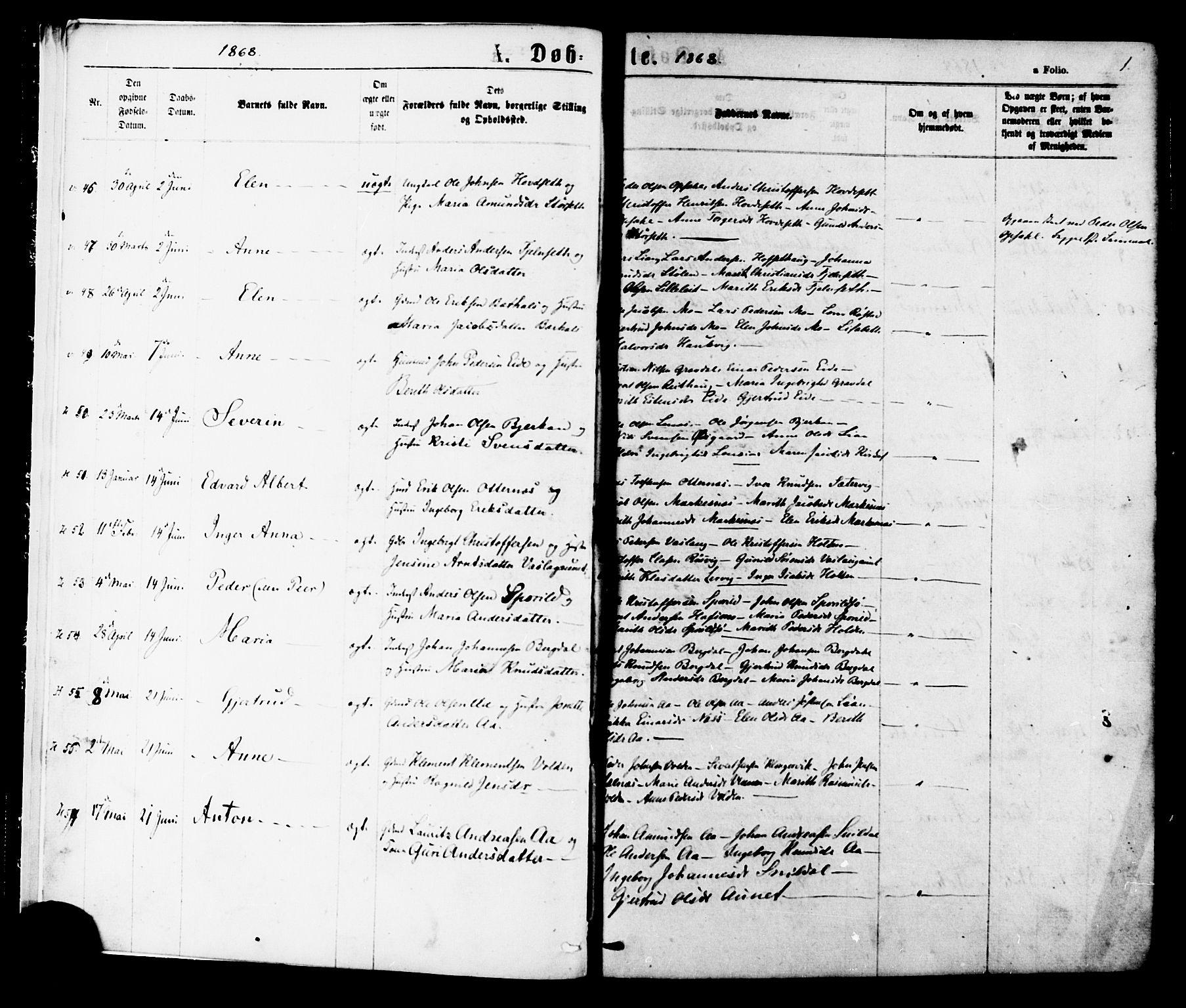 SAT, Ministerialprotokoller, klokkerbøker og fødselsregistre - Sør-Trøndelag, 630/L0495: Ministerialbok nr. 630A08, 1868-1878, s. 1