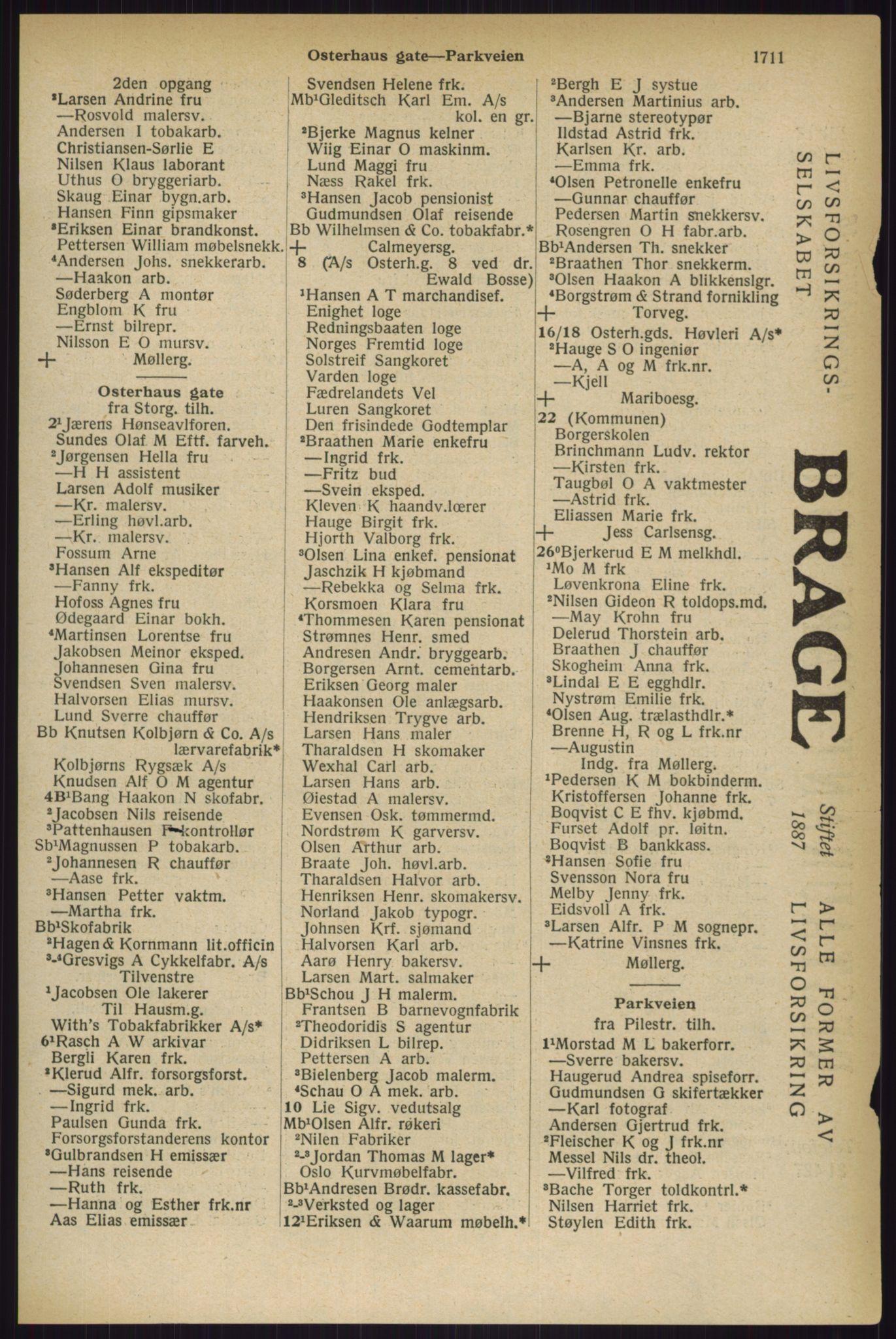 RA, Oslo adressebok (publikasjon)*, 1927, s. 1711